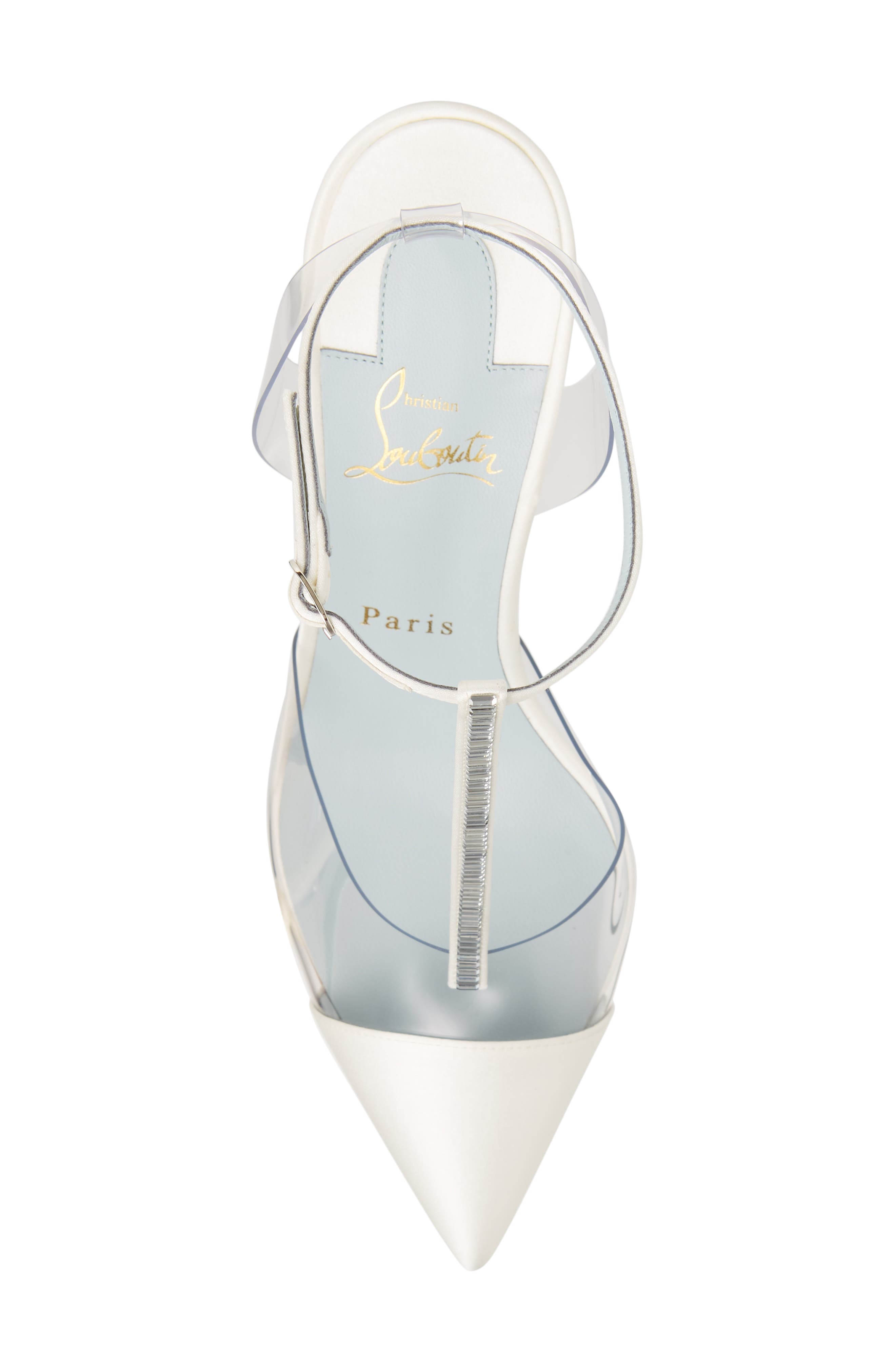 CHRISTIAN LOUBOUTIN,                             Nosy Jewel Clear Pump,                             Alternate thumbnail 5, color,                             OFF WHITE