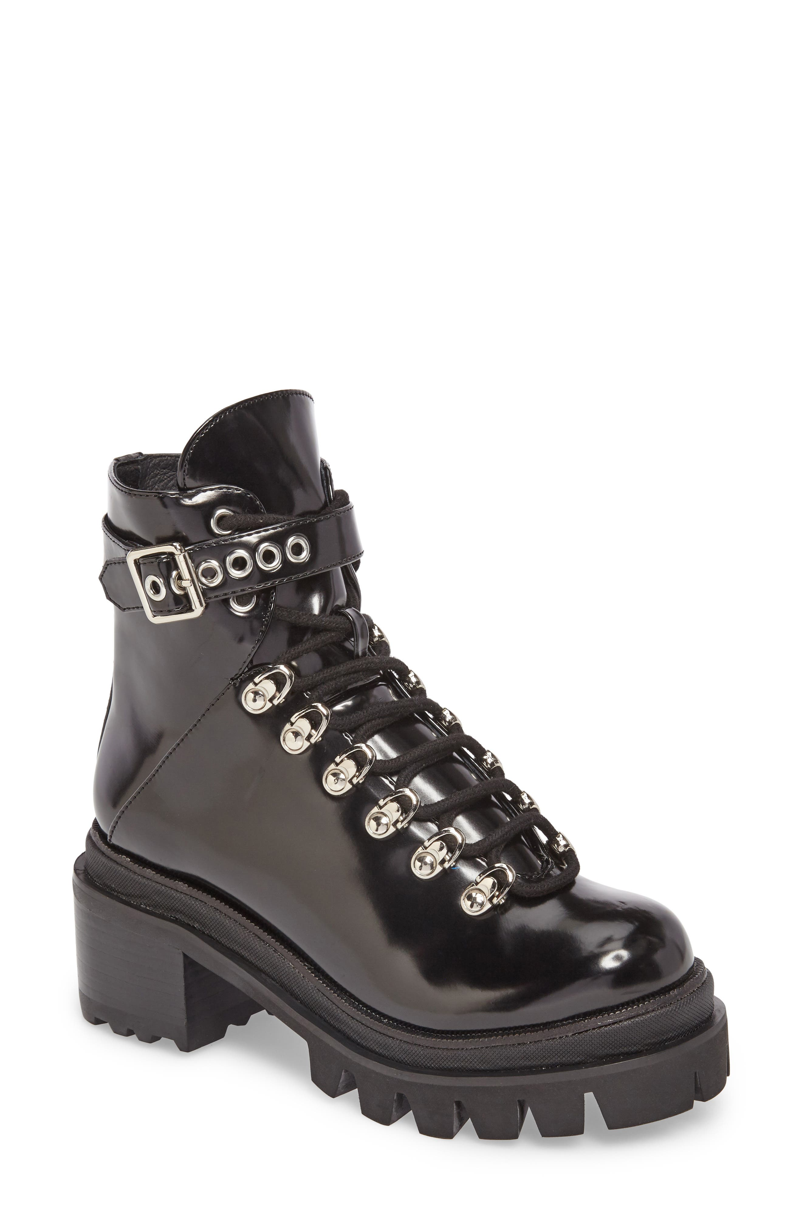Czech Lace-Up Boot,                         Main,                         color, BLACK PATENT LEATHER