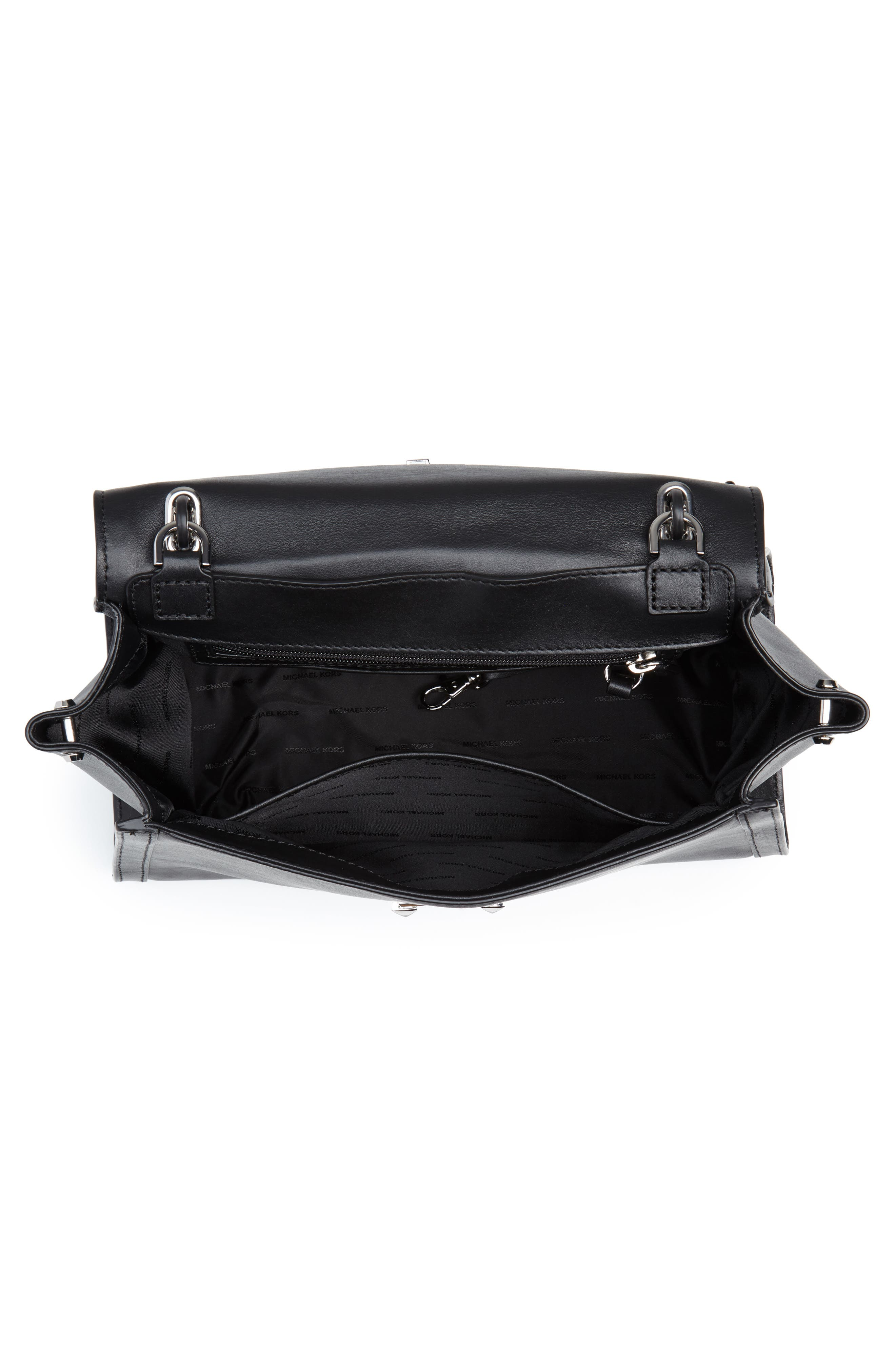 Large Whitney Leather Satchel,                             Alternate thumbnail 4, color,                             BLACK