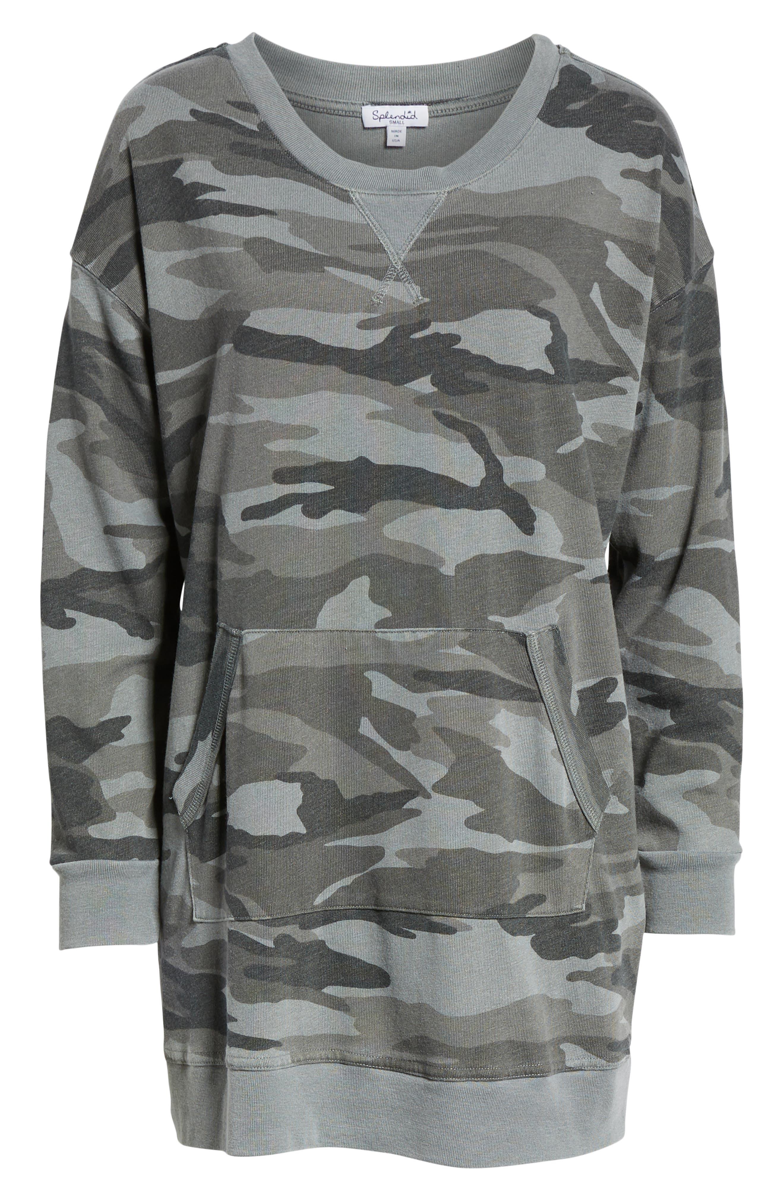 Active Camo Sweatshirt Dress,                             Alternate thumbnail 7, color,                             OLIVE BRANCH