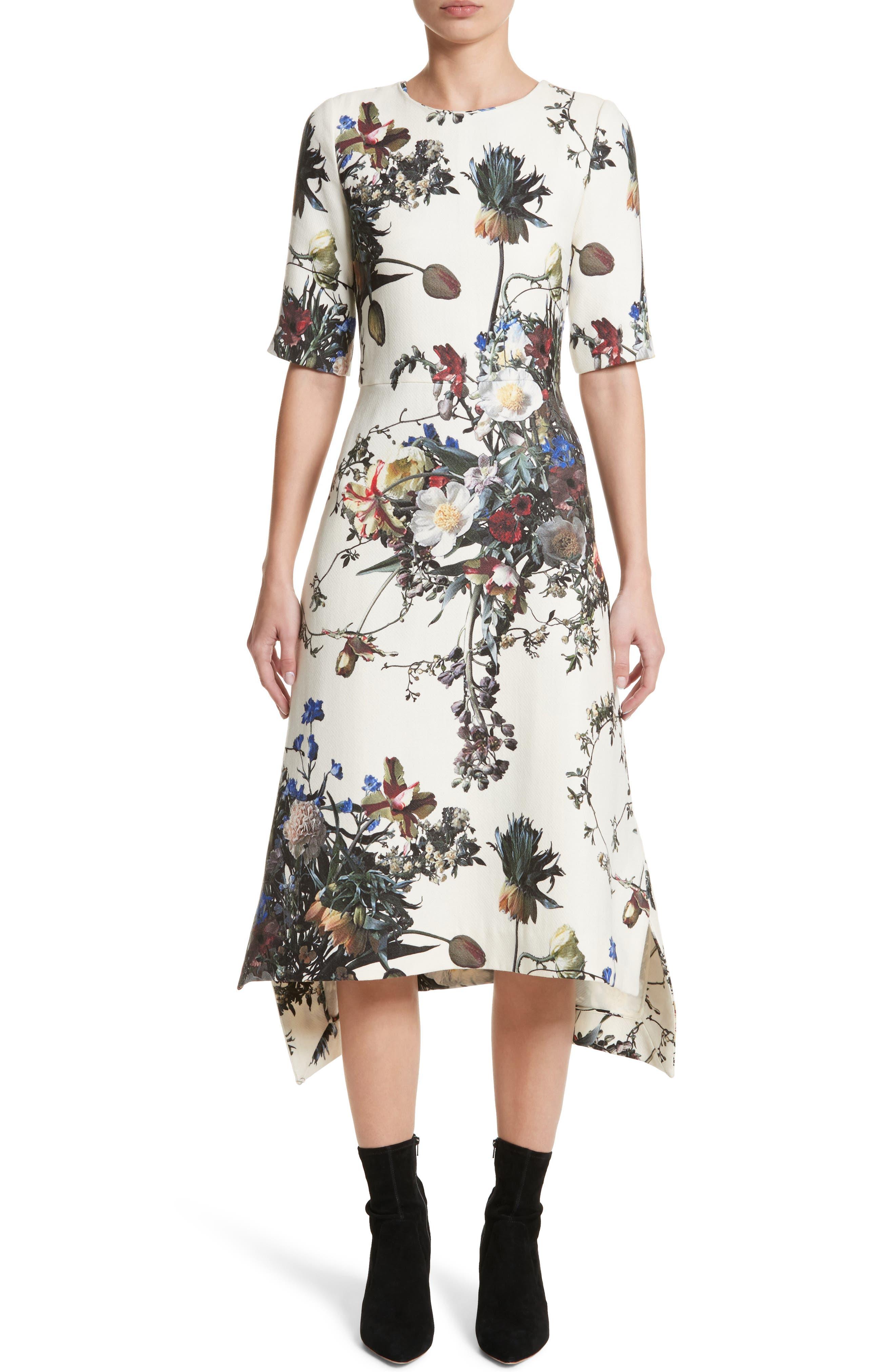 Floral Print Trapeze Dress,                             Main thumbnail 1, color,                             900