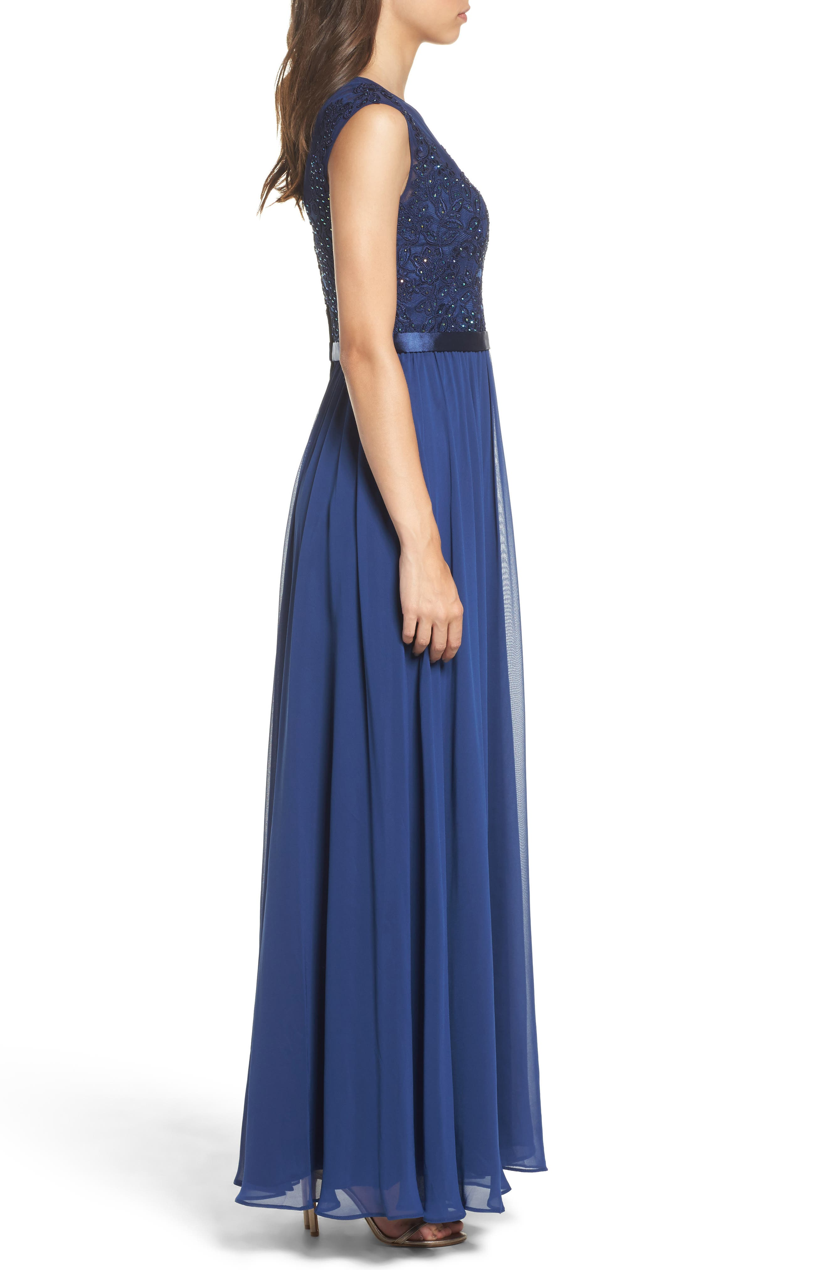 Xcape Embellished Bodice Mesh A-Line Gown,                             Alternate thumbnail 3, color,