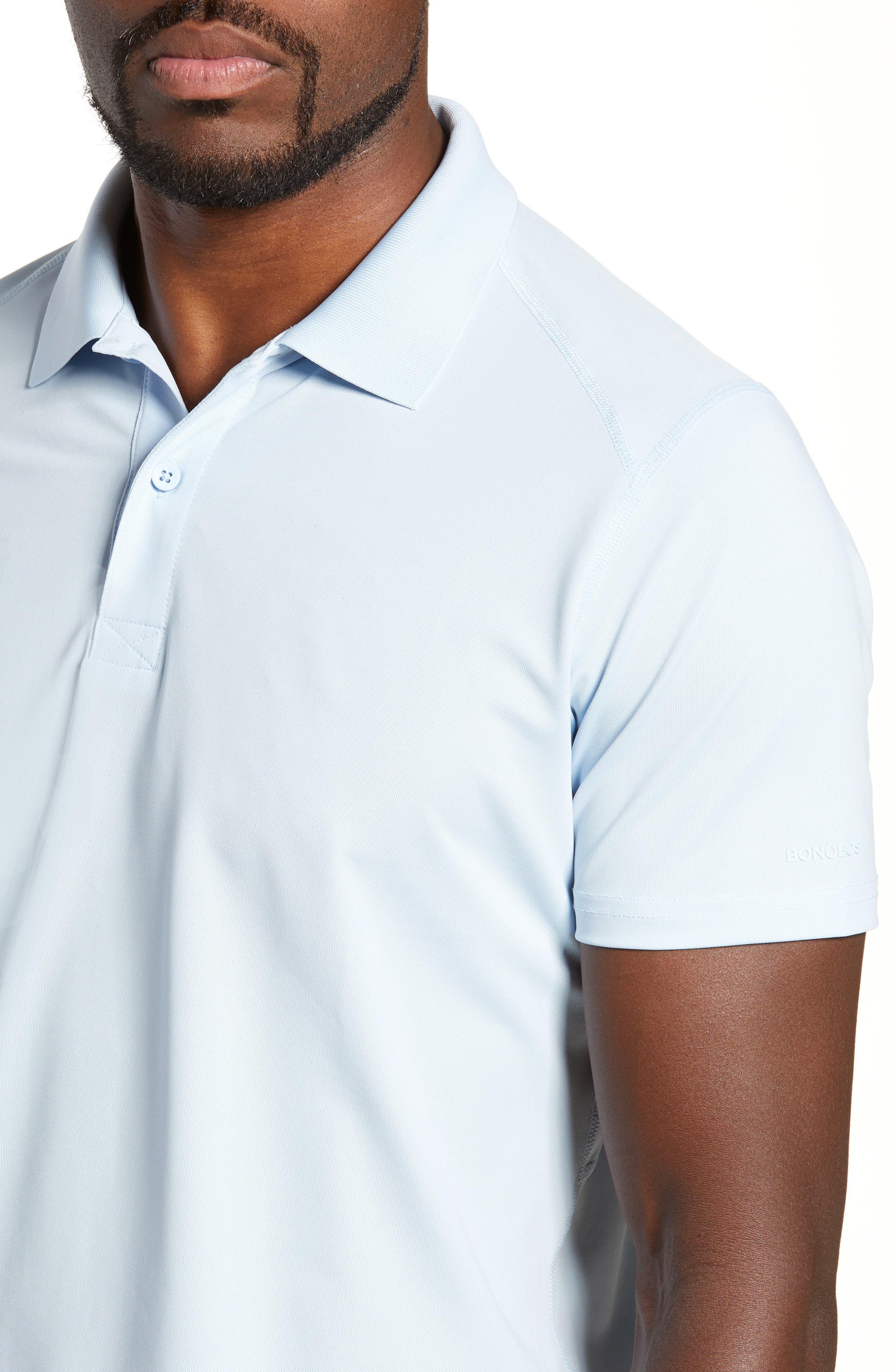 M-Flex Flatiron Slim Fit Golf Polo,                             Alternate thumbnail 4, color,                             SKY BLUE