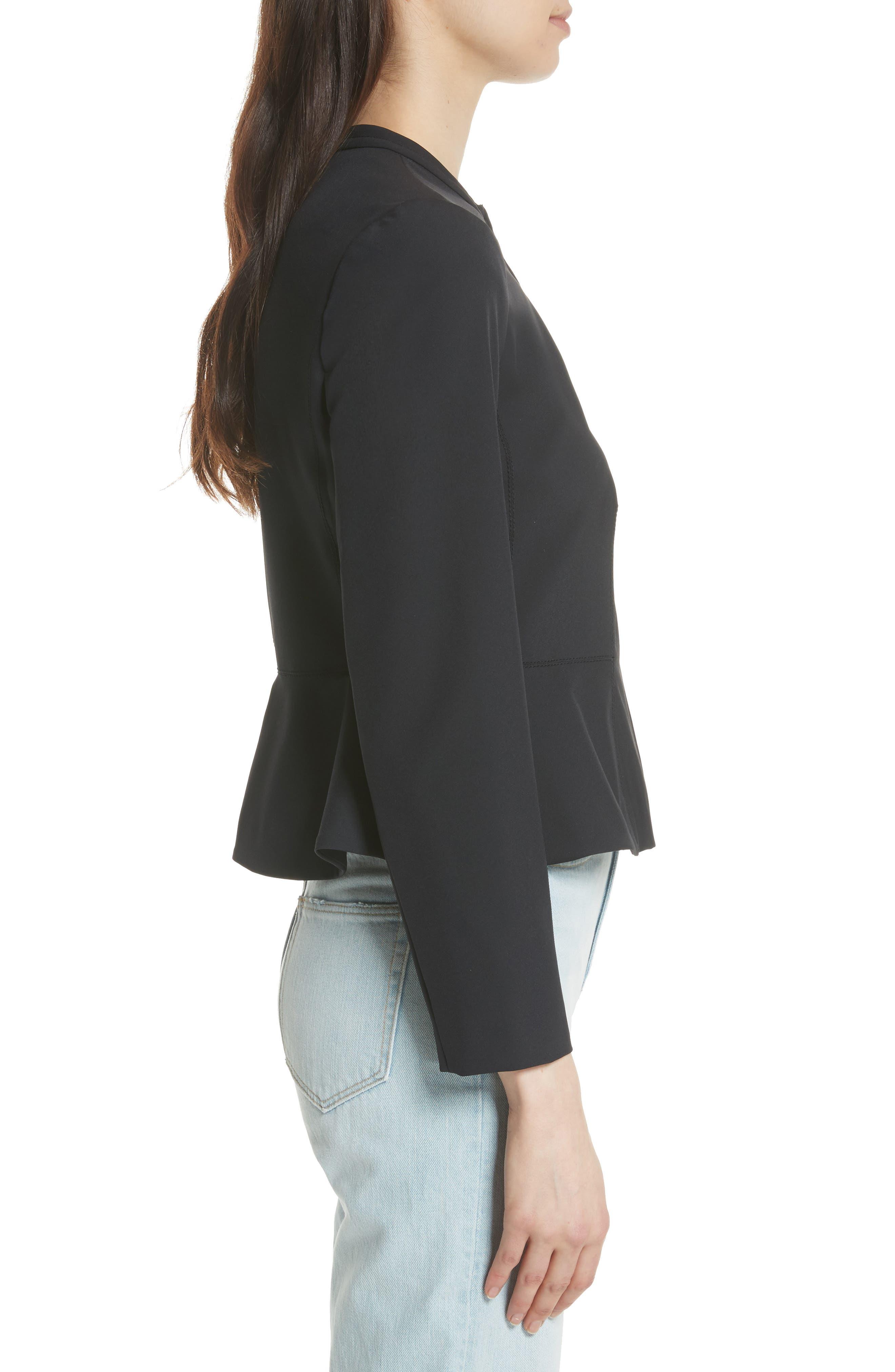 Ava Peplum Jacket,                             Alternate thumbnail 3, color,                             BLACK
