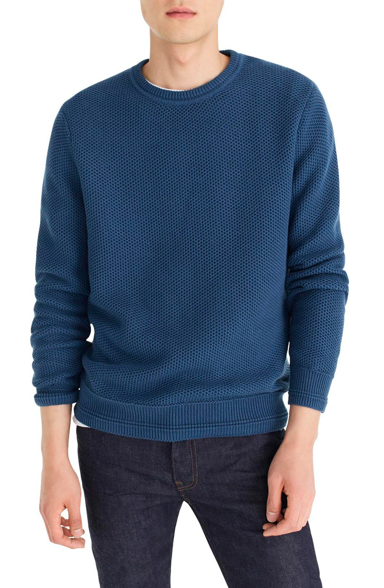 Honeycomb Cotton Crewneck Sweater,                             Main thumbnail 1, color,                             400