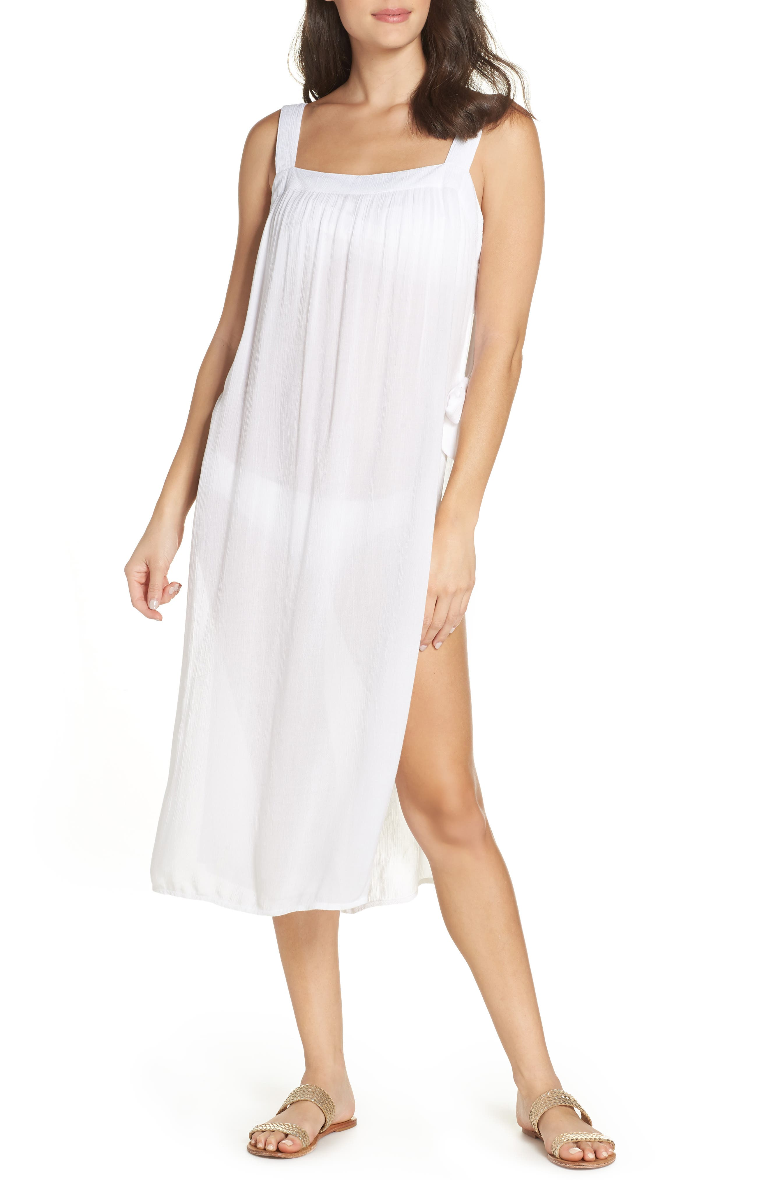Lucca Cover-Up Midi Dress,                         Main,                         color, WHITE