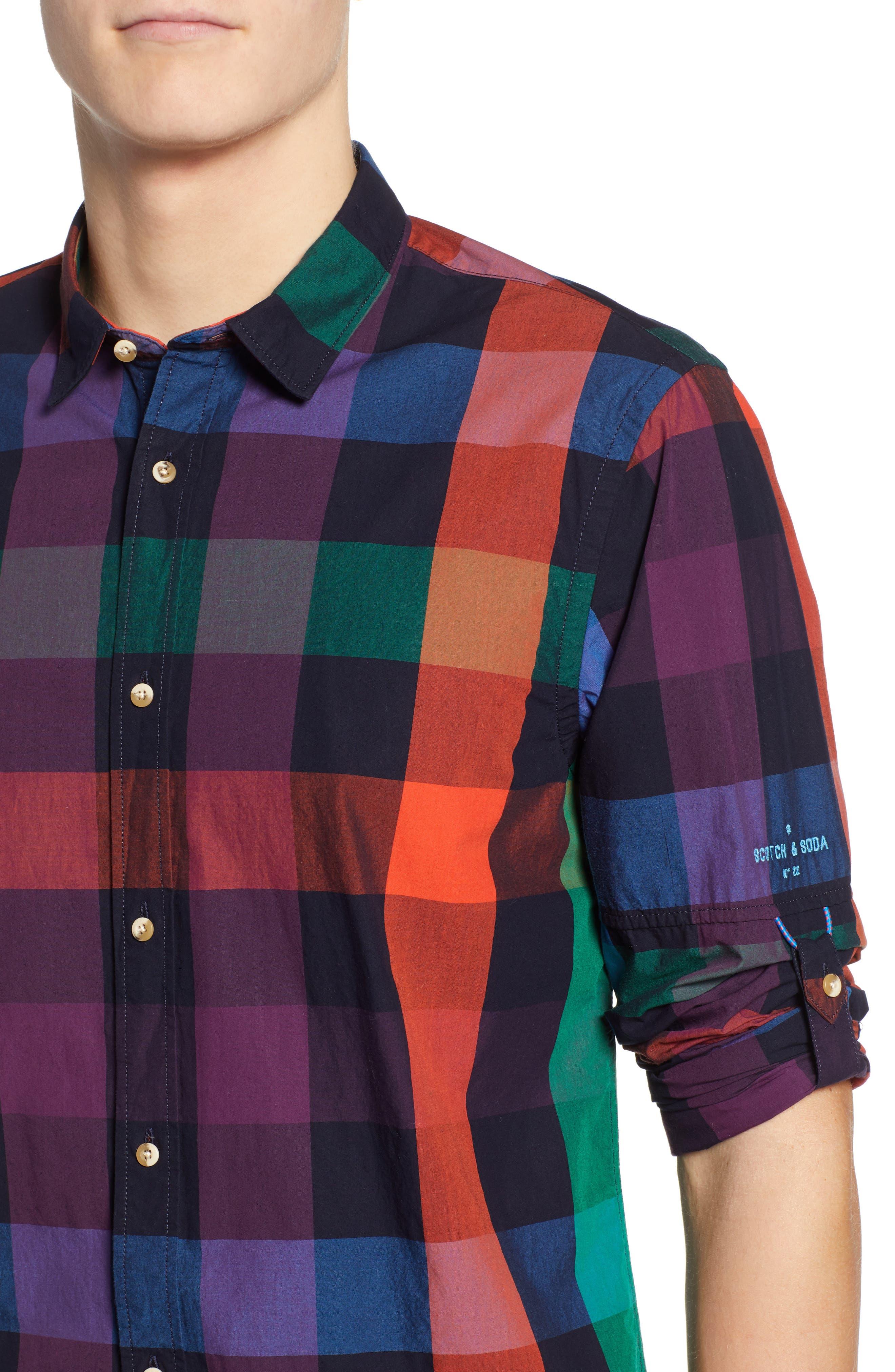 SCOTCH & SODA,                             Check Sport Shirt,                             Alternate thumbnail 4, color,                             300