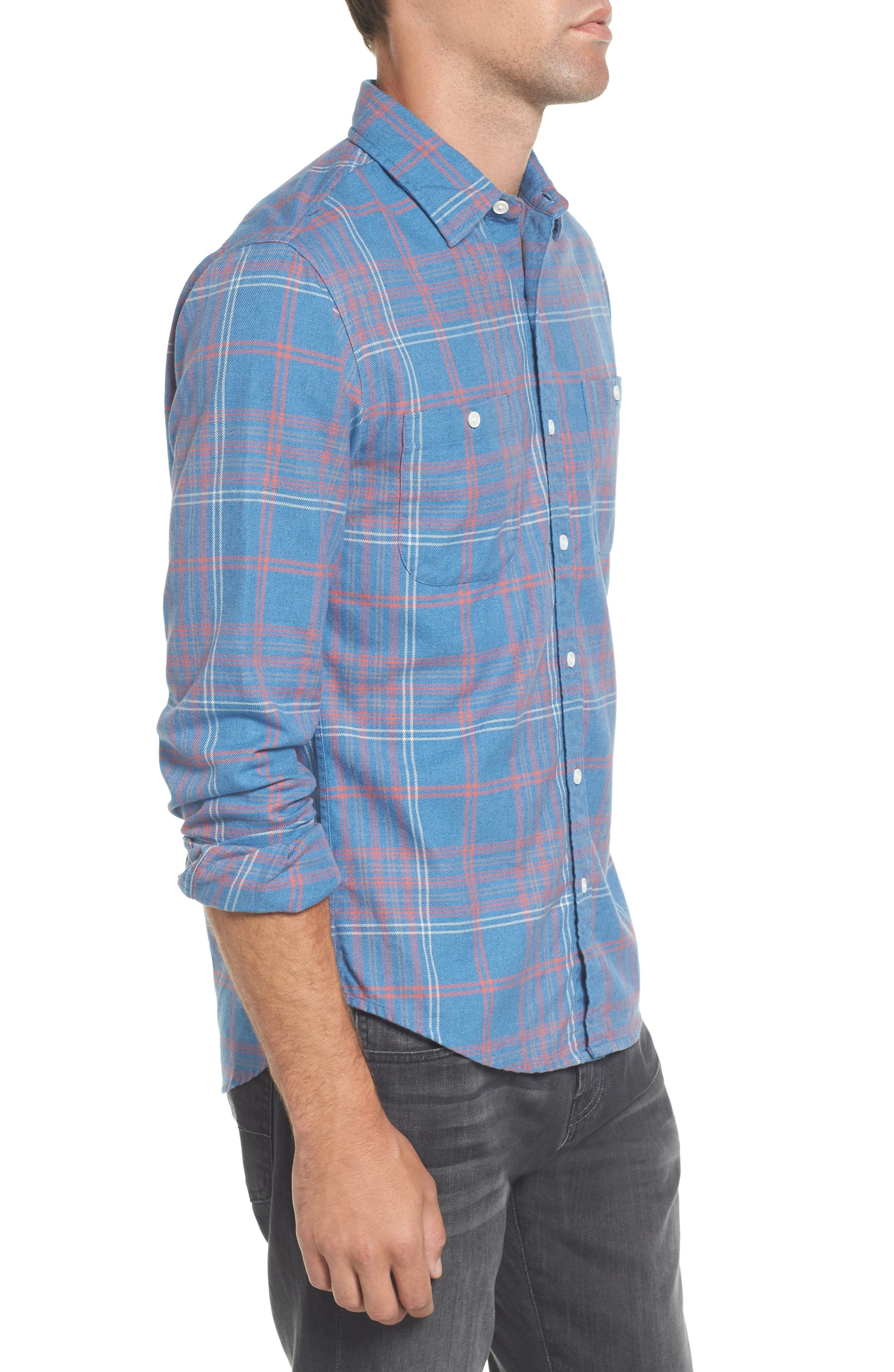Slim Fit Plaid Flannel Sport Shirt,                             Alternate thumbnail 3, color,                             400