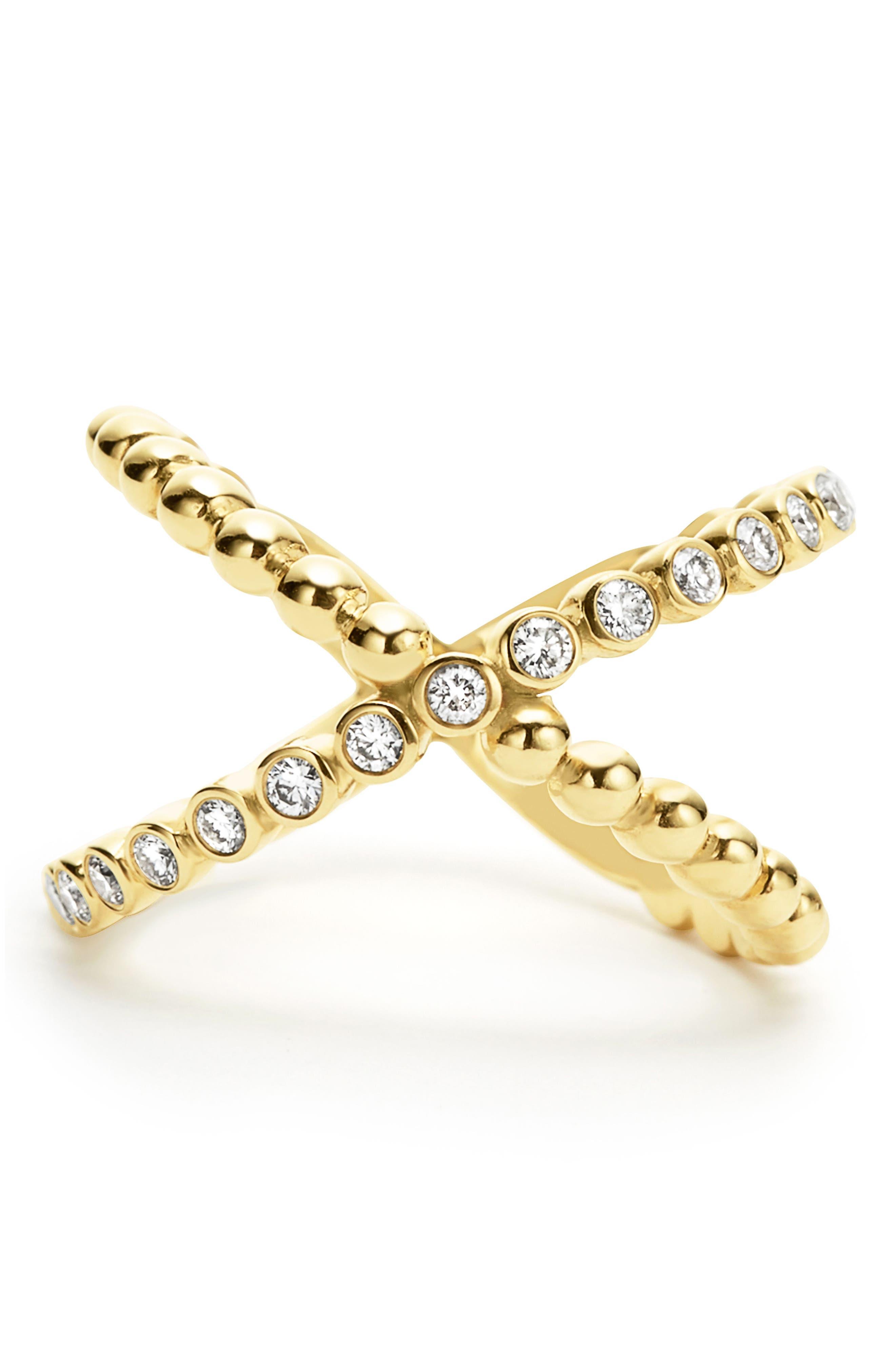 Caviar Crisscross Ring,                             Alternate thumbnail 5, color,                             Gold