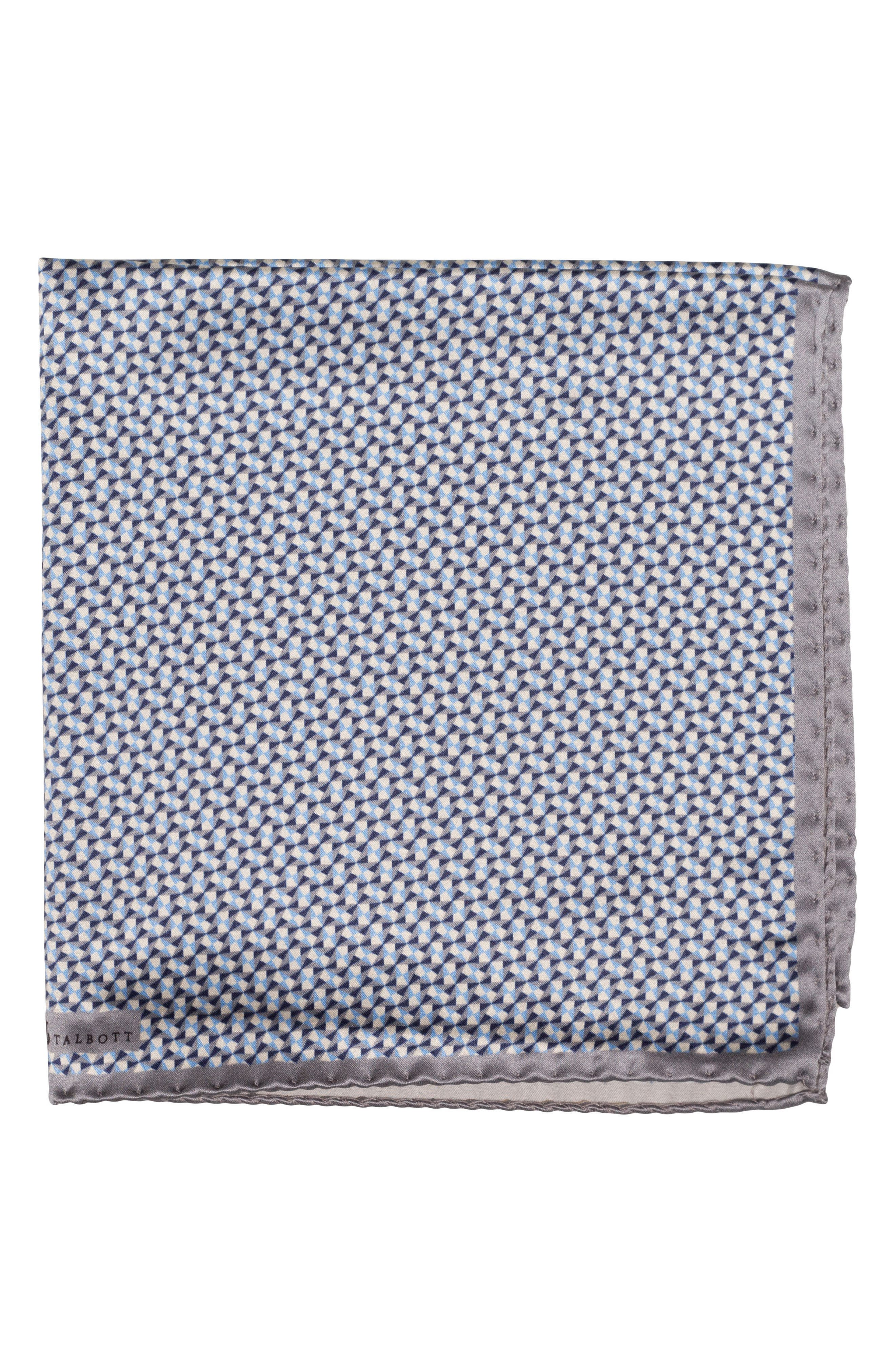 Geometric Silk Pocket Square,                             Main thumbnail 1, color,                             030