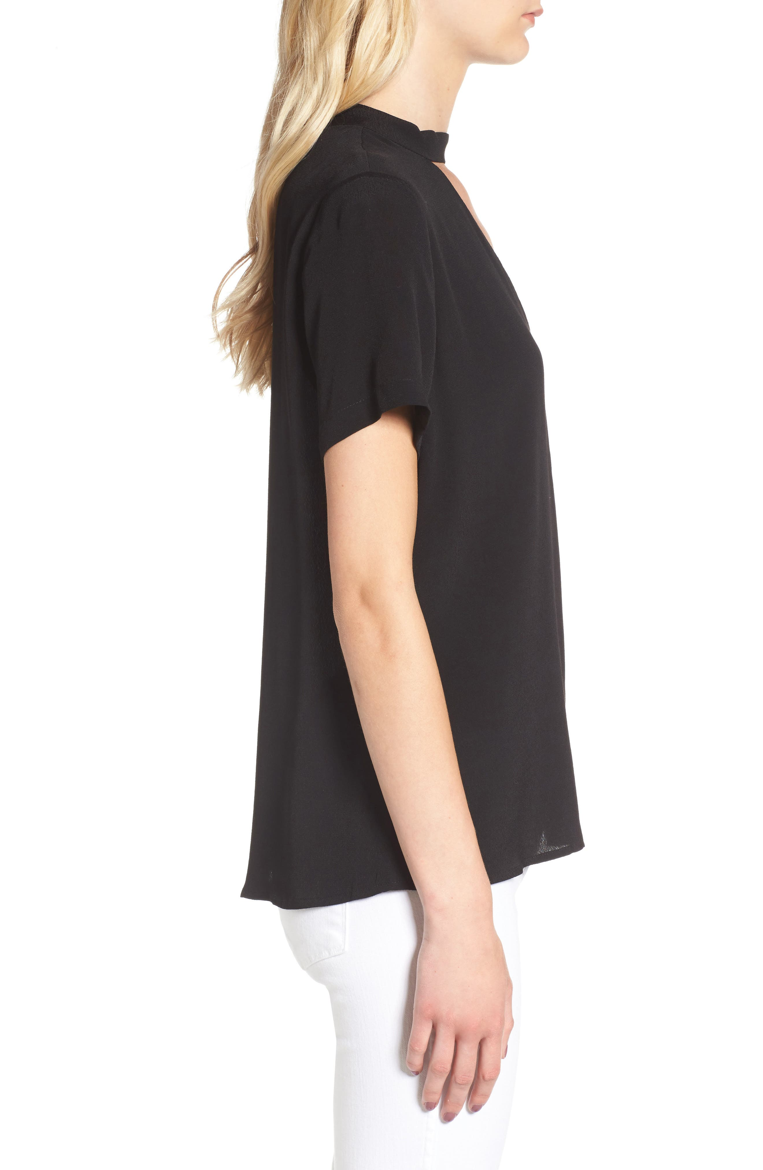 Band Neck Top,                             Alternate thumbnail 3, color,                             001