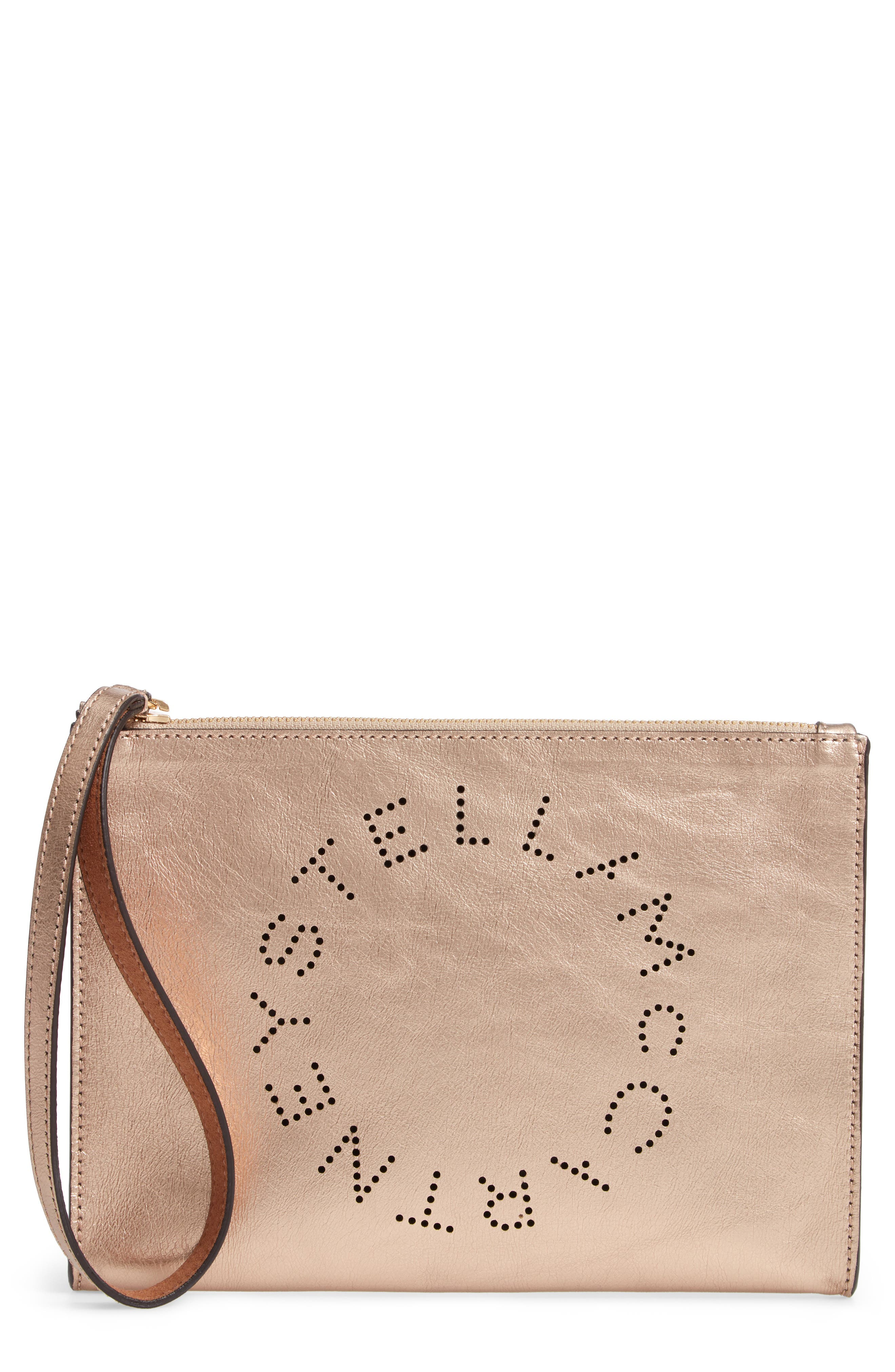 Metallic Faux Nappa Leather Wristlet Clutch, Main, color, ROSE GOLD