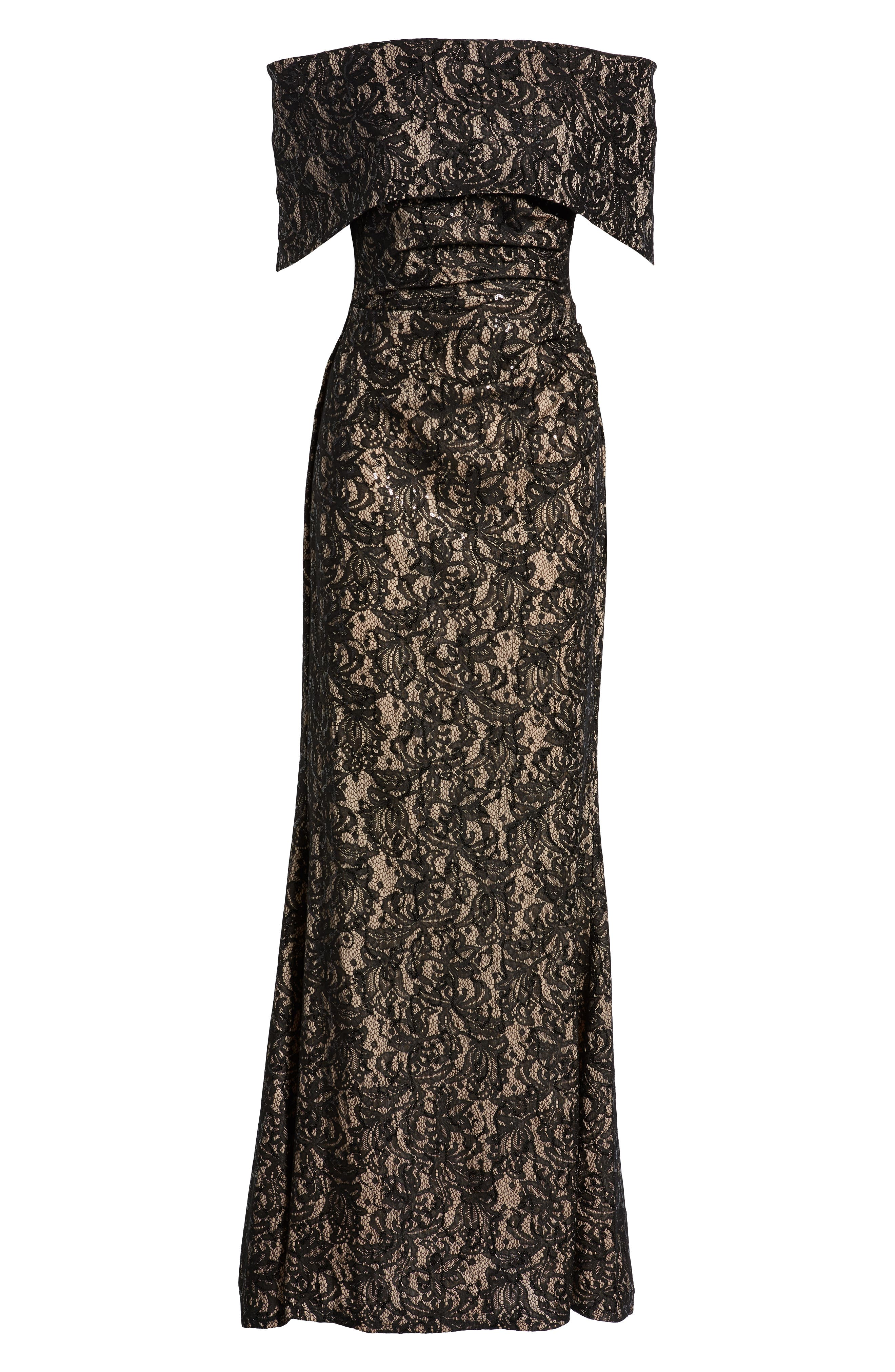VINCE CAMUTO,                             Sequin Off the Shoulder Gown,                             Alternate thumbnail 7, color,                             BLACK/ TAN