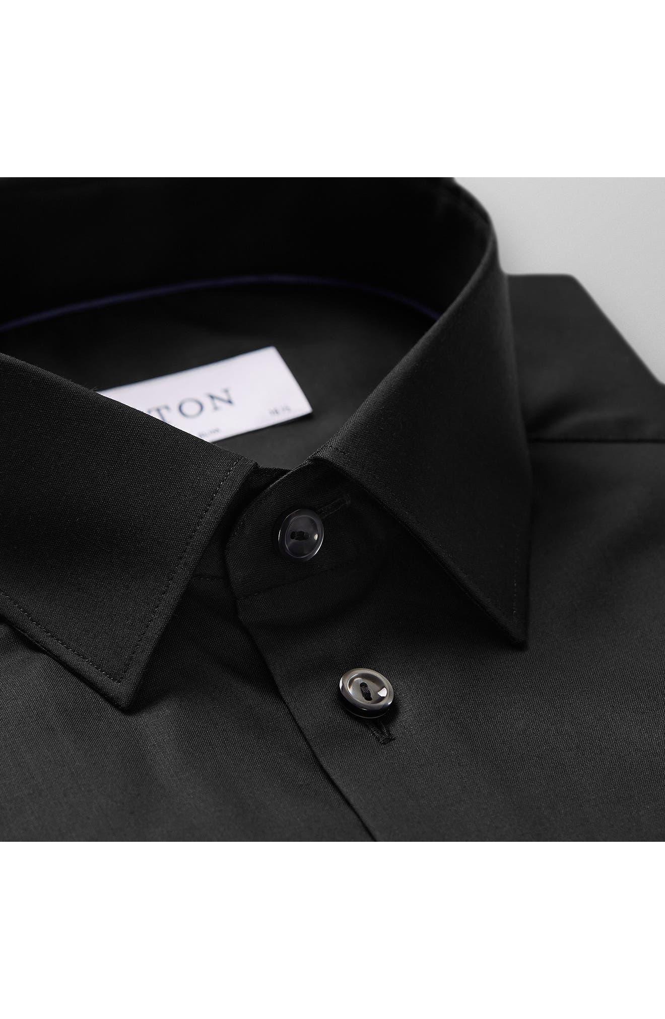 Super Slim Fit Solid Dress Shirt,                             Alternate thumbnail 4, color,                             BLACK