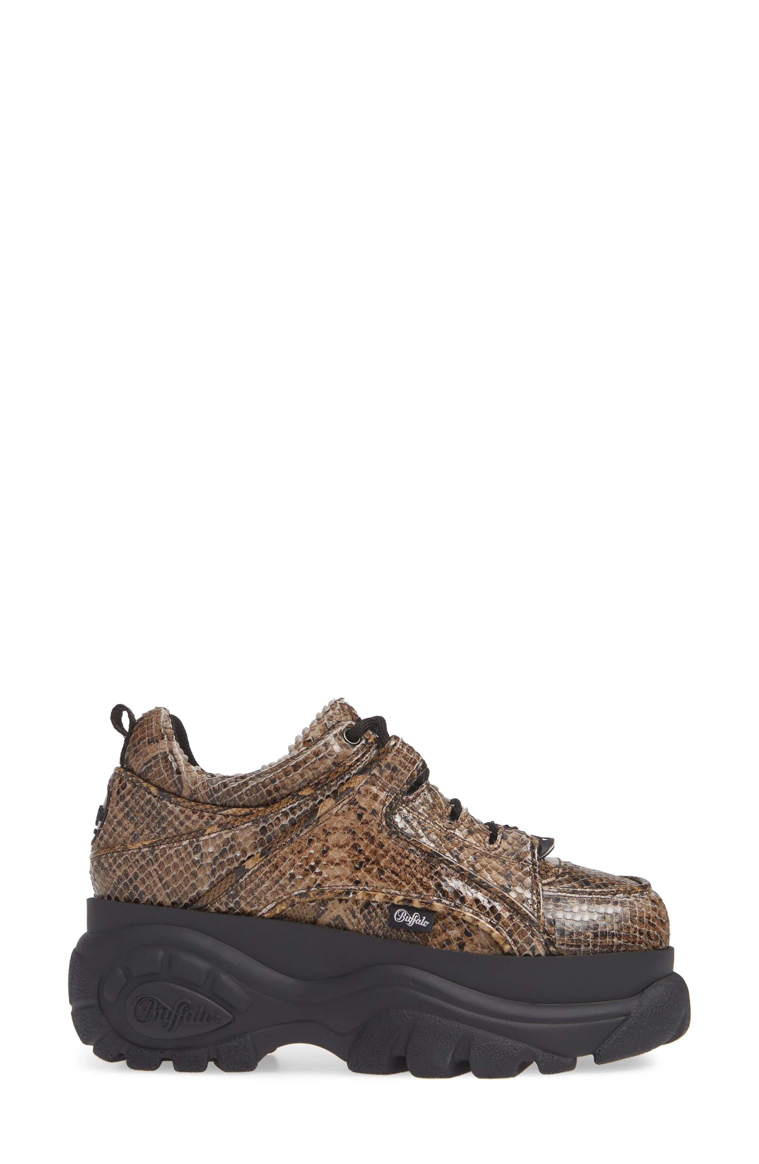 x Buffalo London Python Print Platform Sneaker,                             Alternate thumbnail 3, color,                             BEIGE