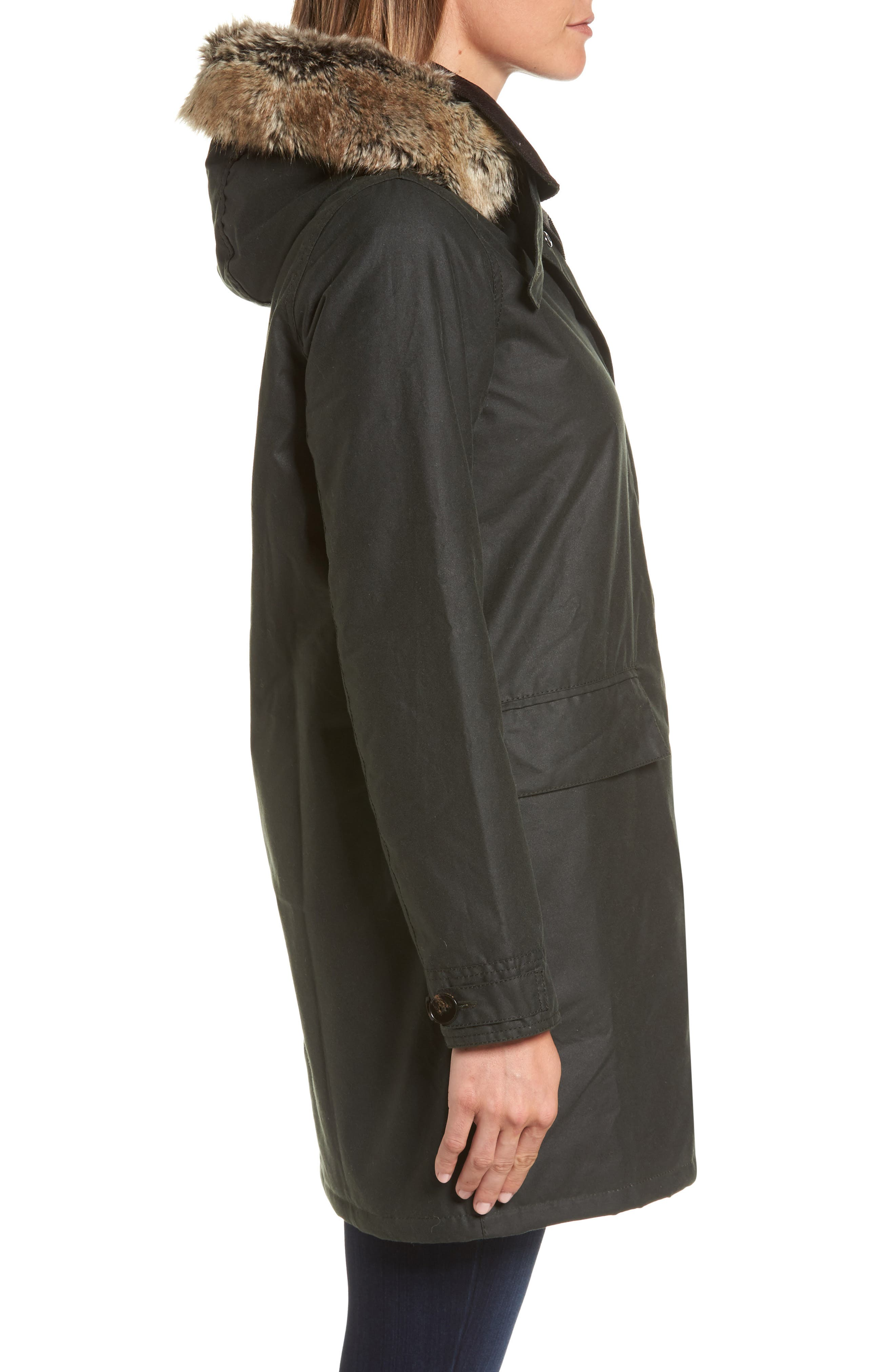 Fortrose Hooded Water Resistant Waxed Canvas Jacket with Faux Fur Trim,                             Alternate thumbnail 3, color,                             302
