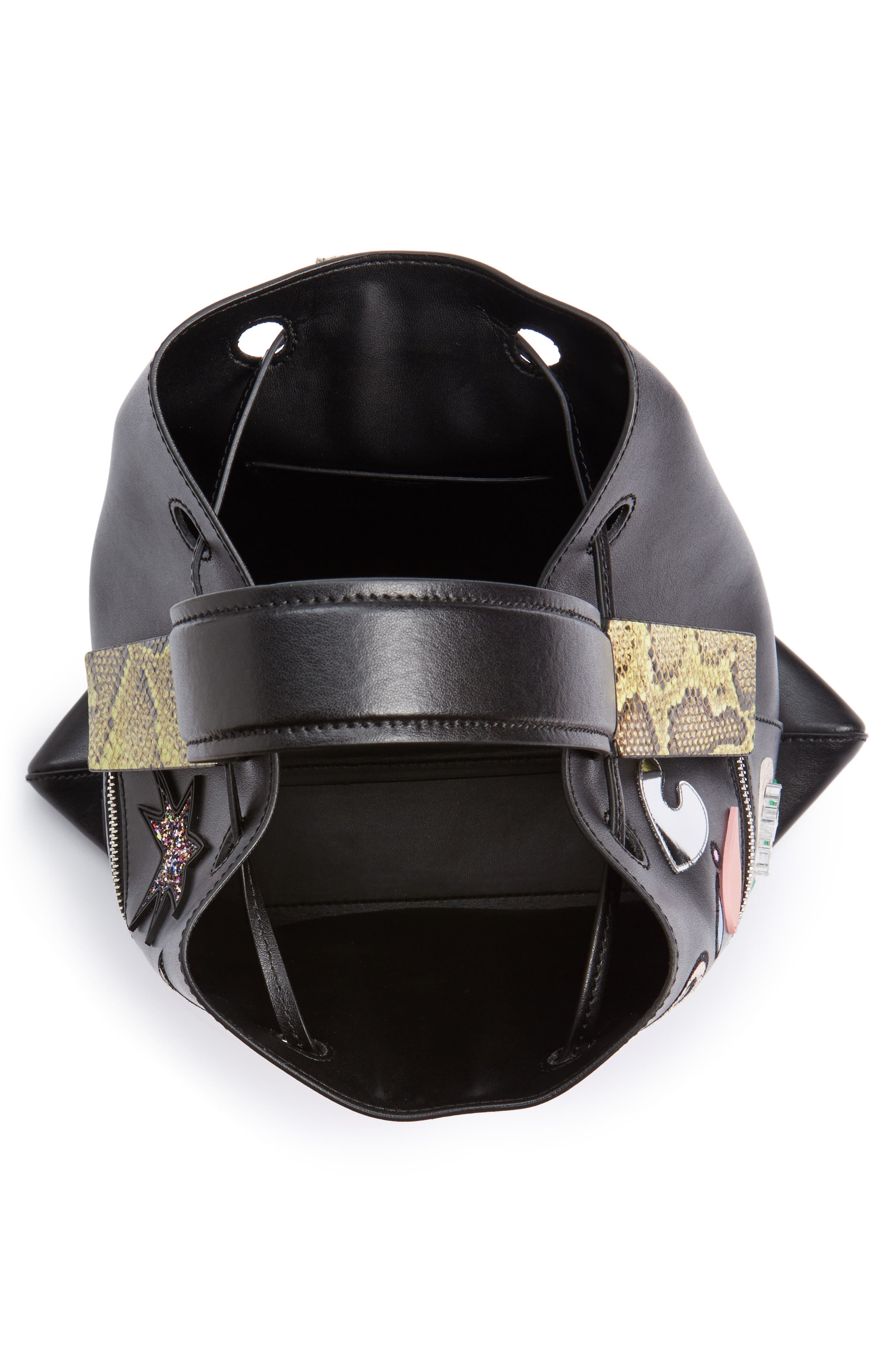 Rizo Badge Leather Backpack,                             Alternate thumbnail 5, color,                             001