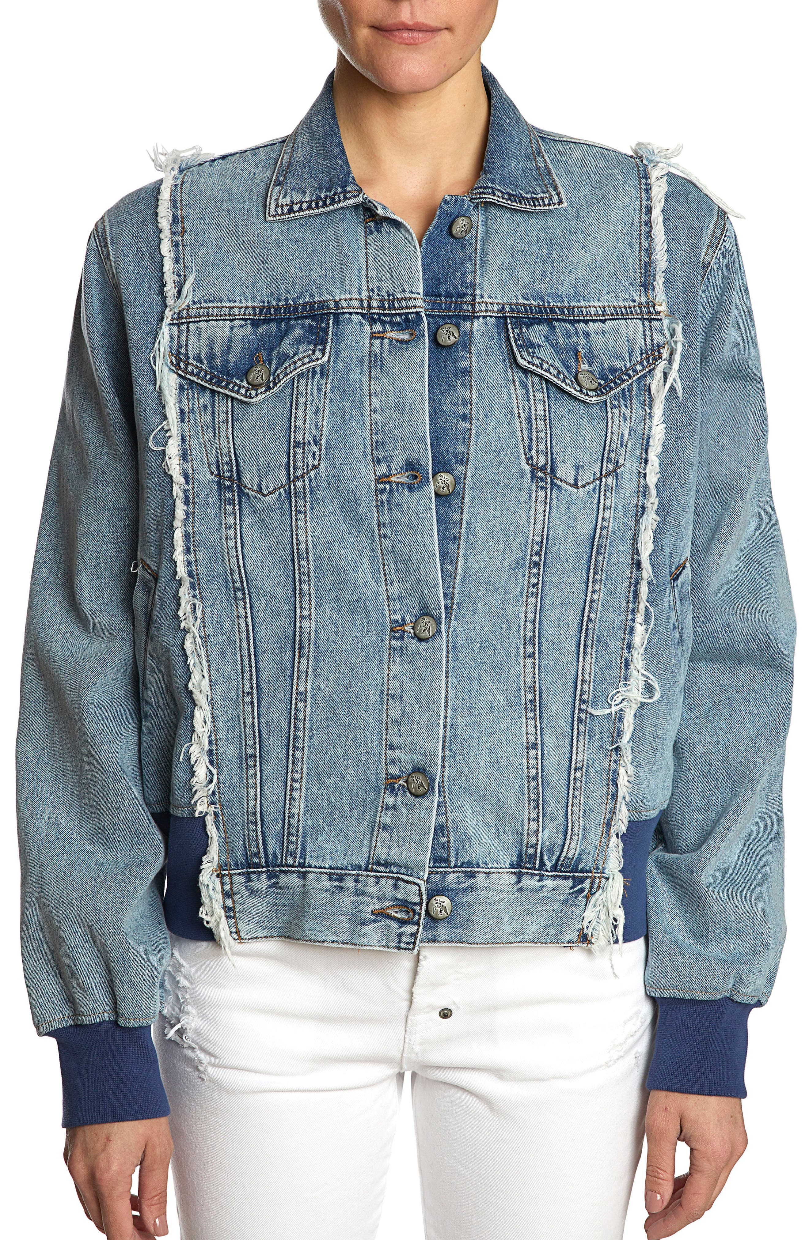 Denim Bomber Jacket,                         Main,                         color, INDIGO