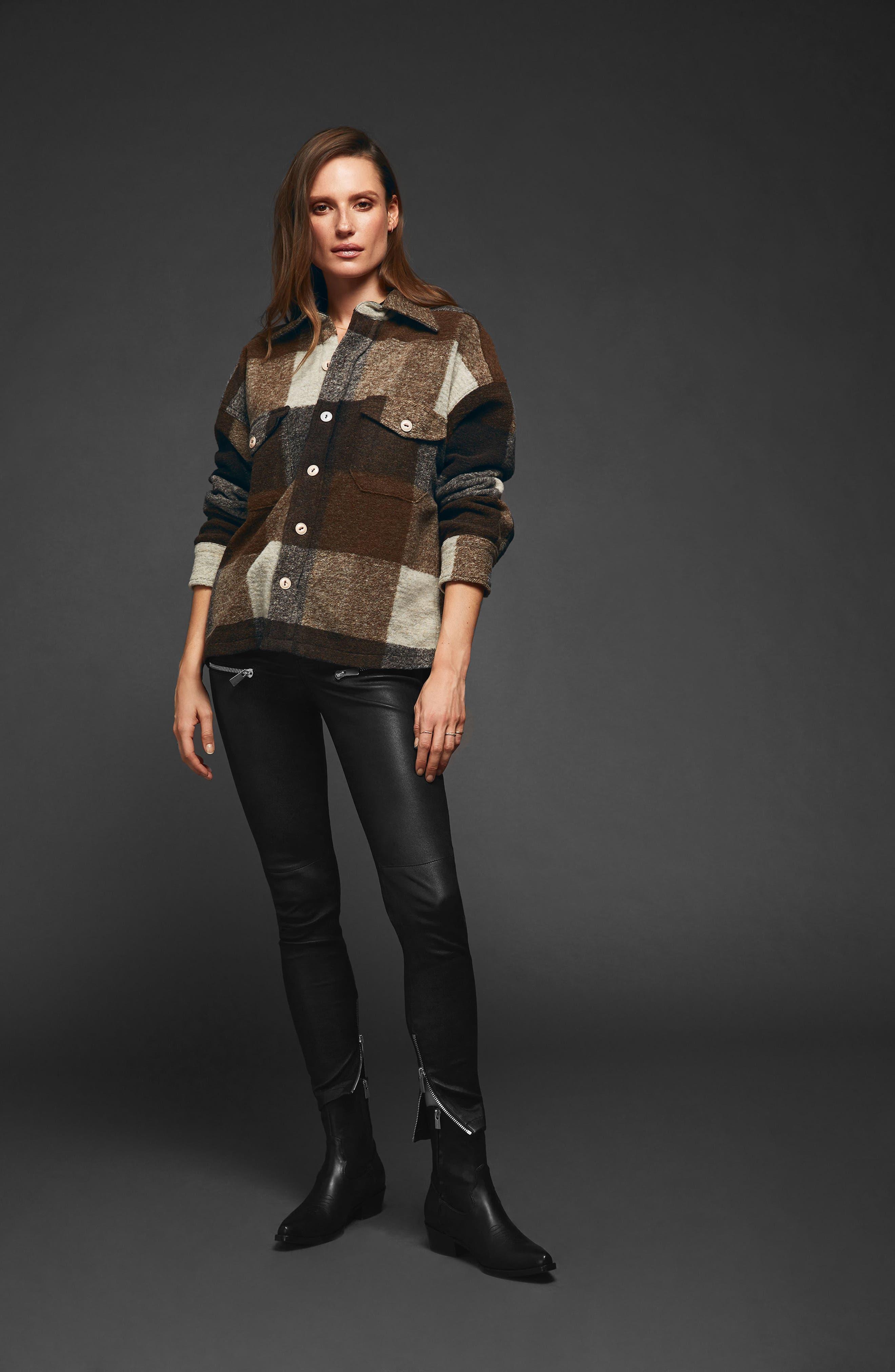 Bobbi Flannel Shirt Jacket,                             Alternate thumbnail 7, color,                             BROWN
