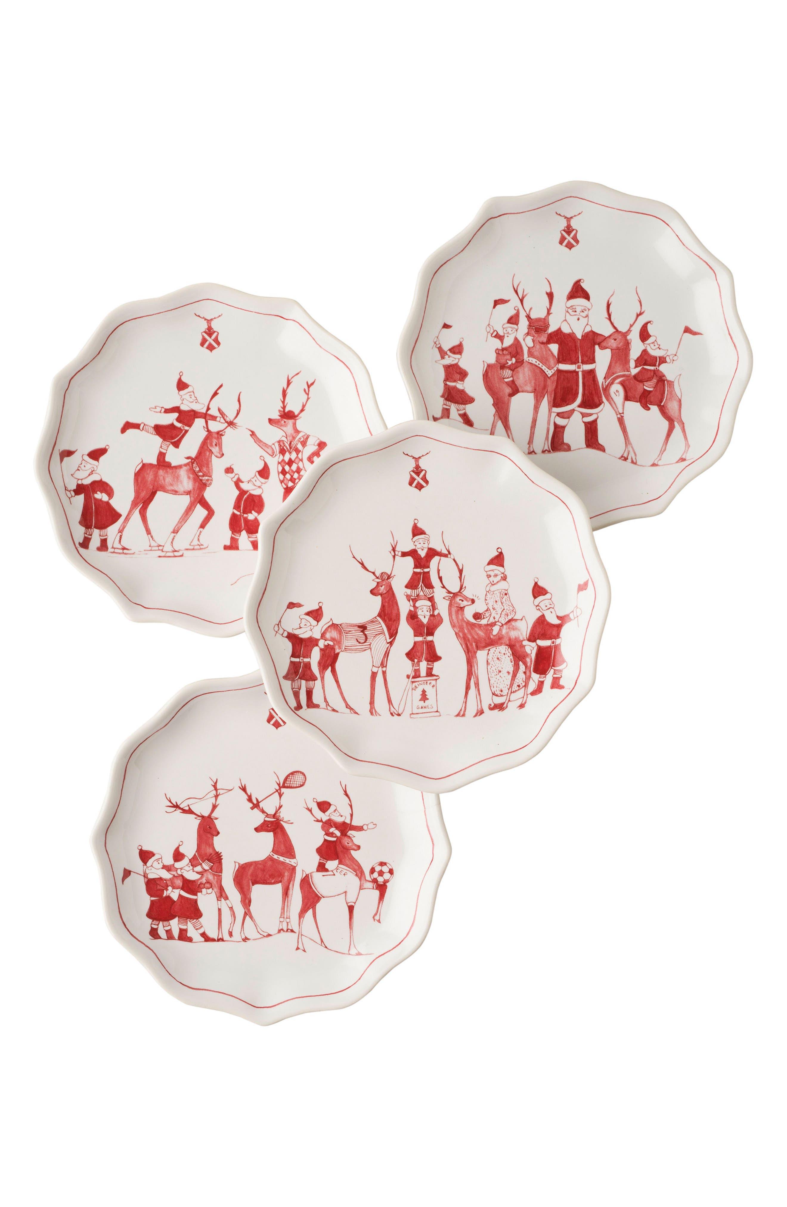 Reindeer Games Set of 4 Ceramic Tidbit Plates,                         Main,                         color, RUBY