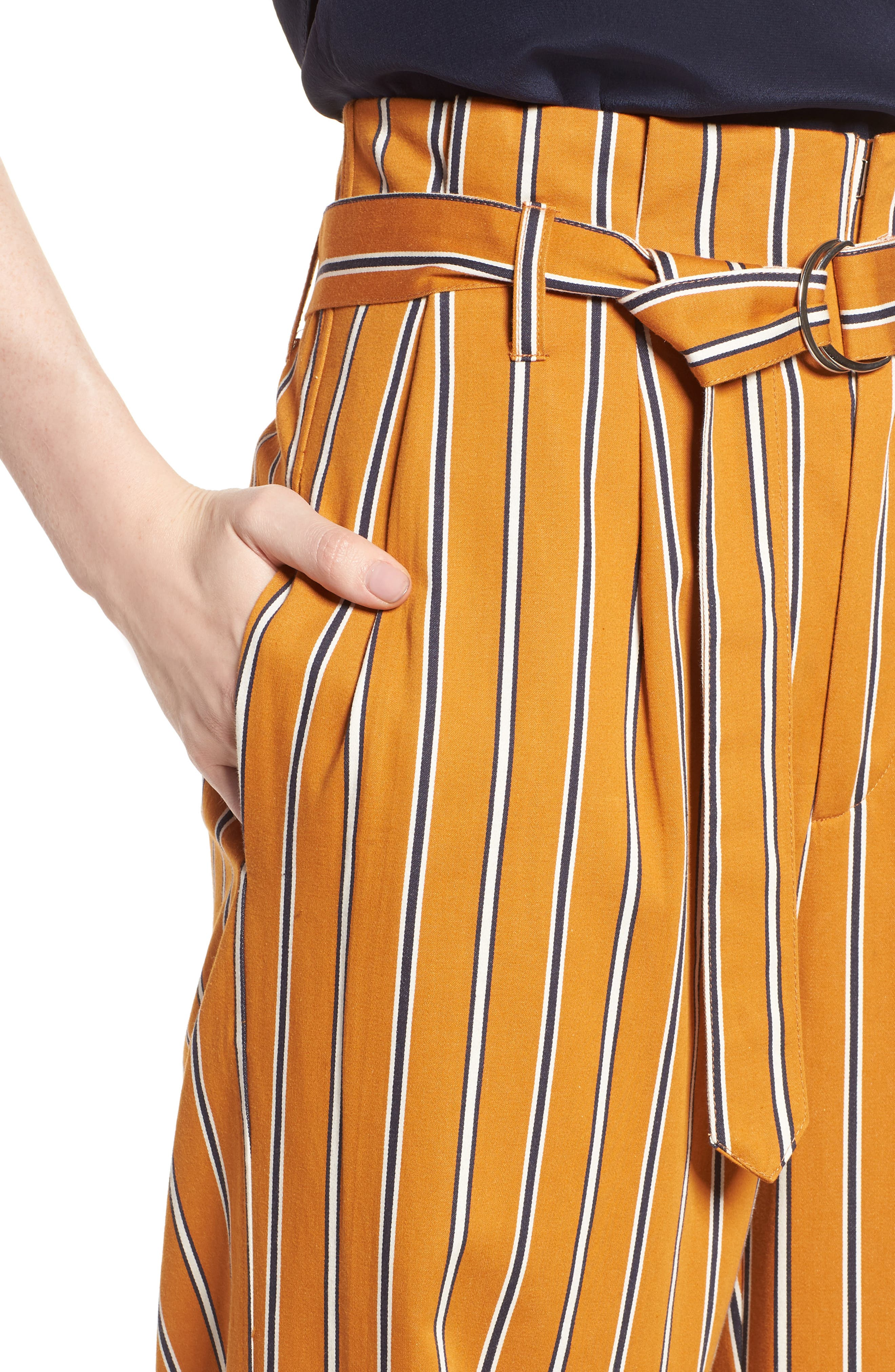 High Waist Wide Leg Stripe Pants,                             Alternate thumbnail 4, color,                             866