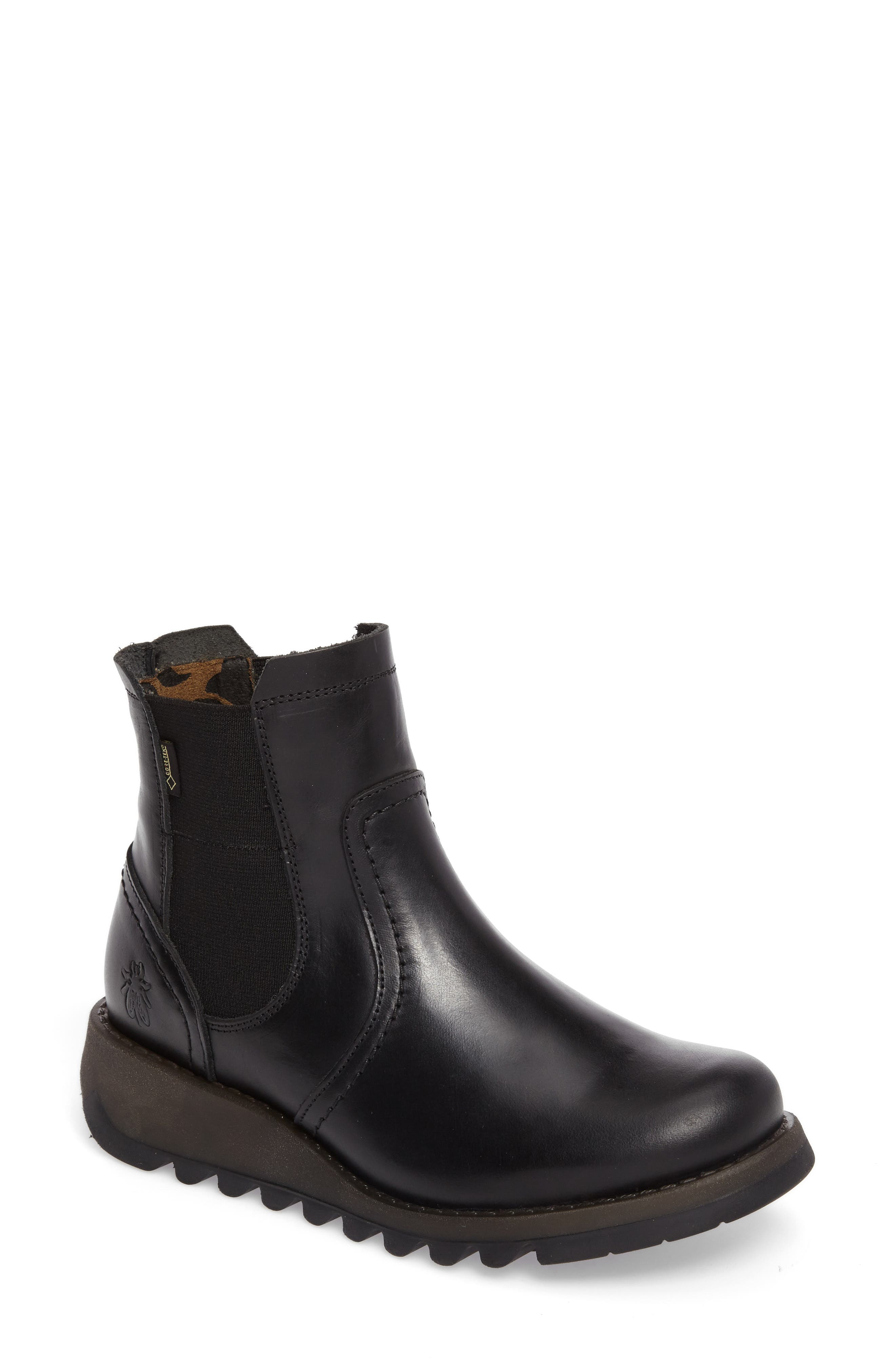 Scon Waterproof Gore-Tex<sup>®</sup> Chelsea Boot,                         Main,                         color, BLACK LEATHER