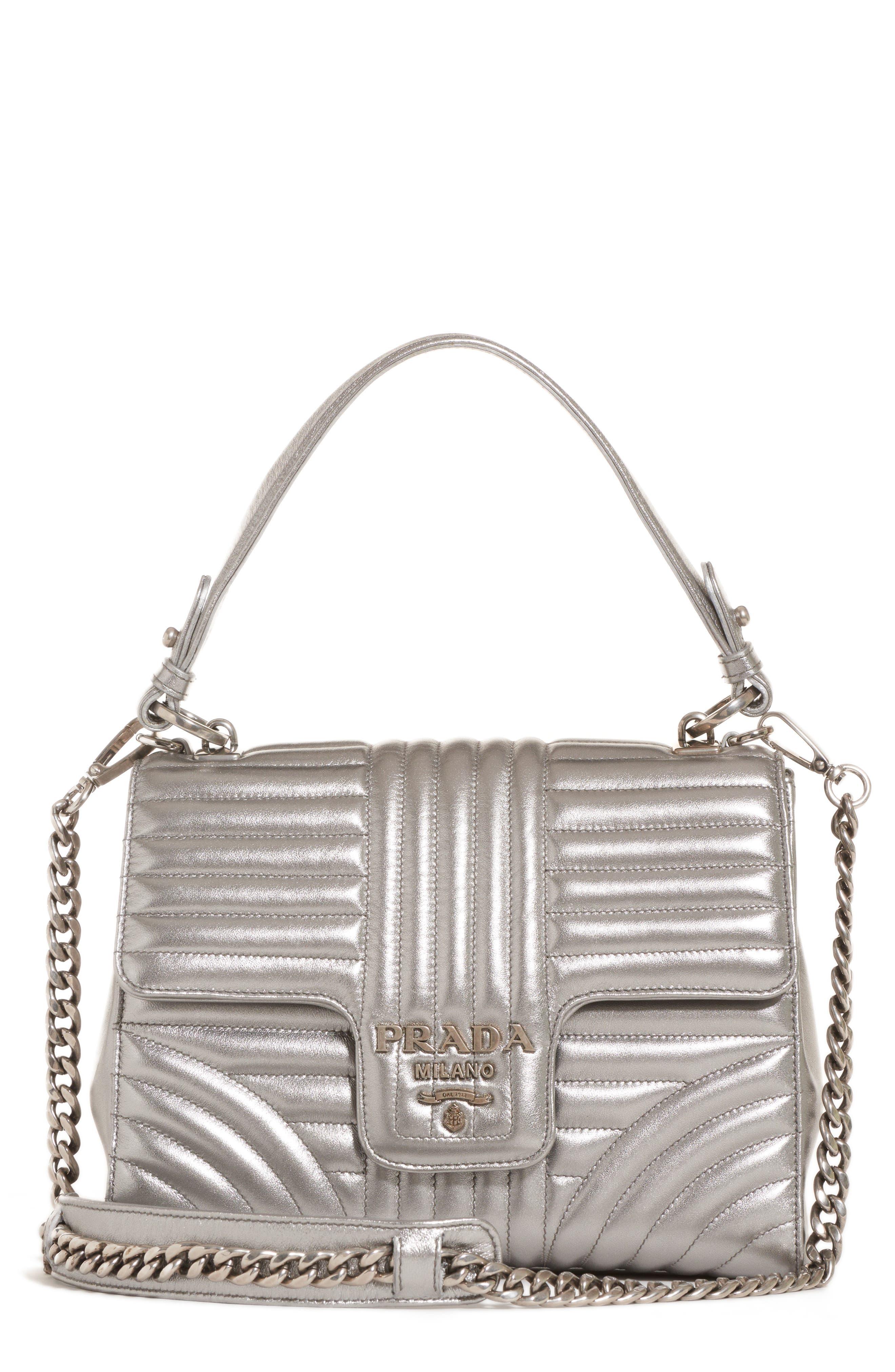 Quilted Metallic Lambskin Leather Handbag,                             Main thumbnail 1, color,                             CROMO