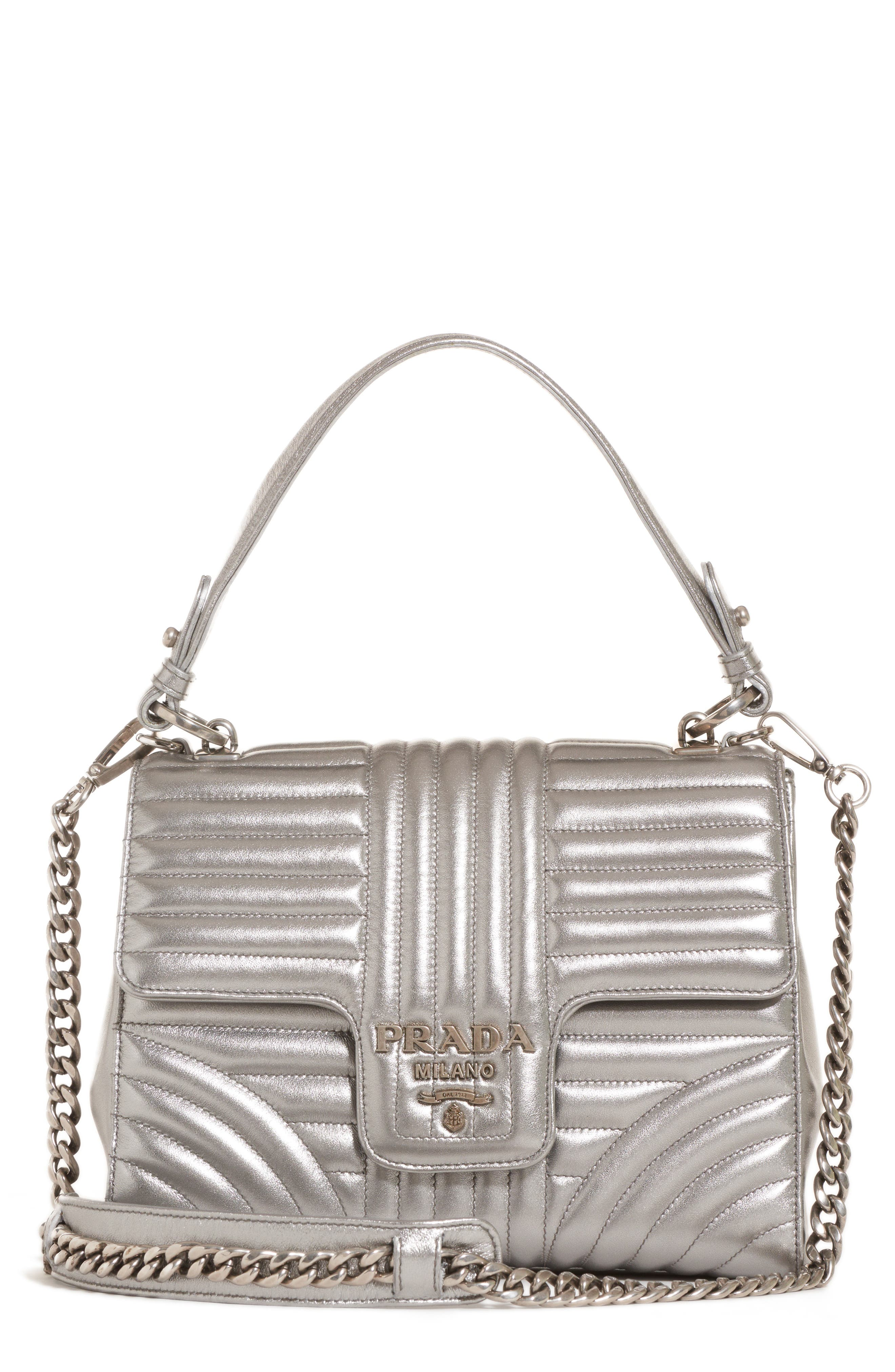 Quilted Metallic Lambskin Leather Handbag,                         Main,                         color, CROMO