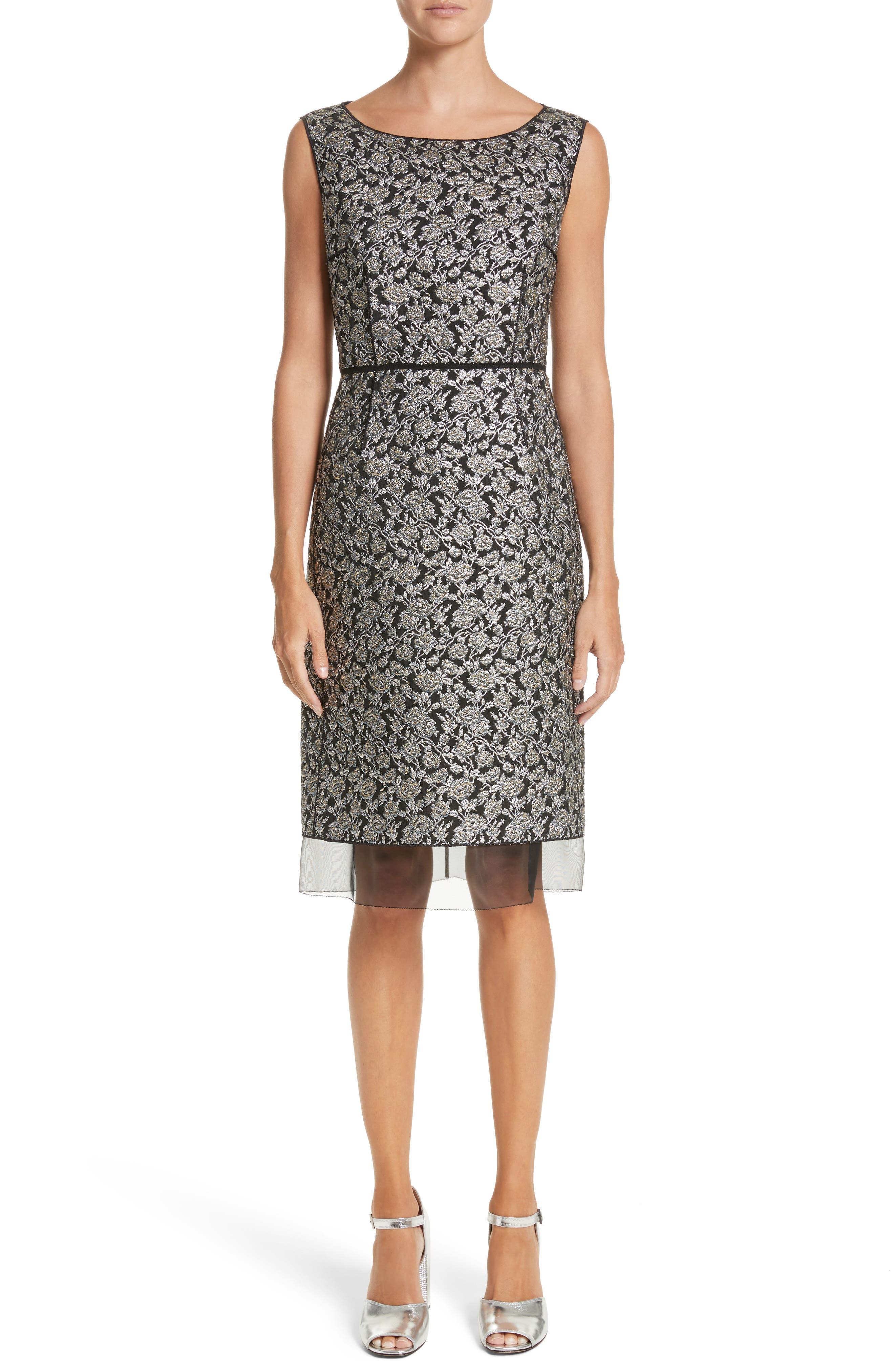 Metallic Jacquard Sheath Dress,                         Main,                         color,