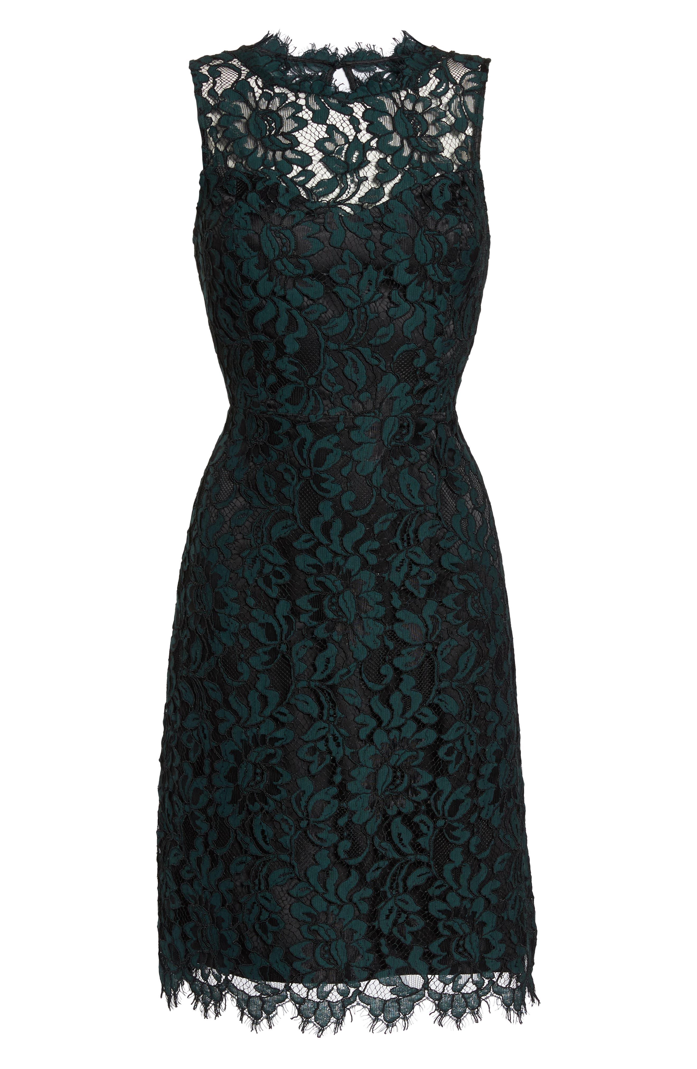 ELIZA J,                             High Neck Lace Sheath Dress,                             Alternate thumbnail 7, color,                             GREEN
