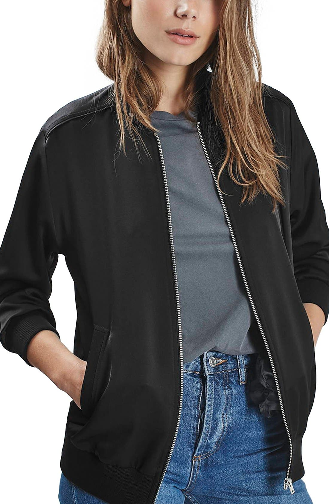 Satin Bomber Jacket,                         Main,                         color,