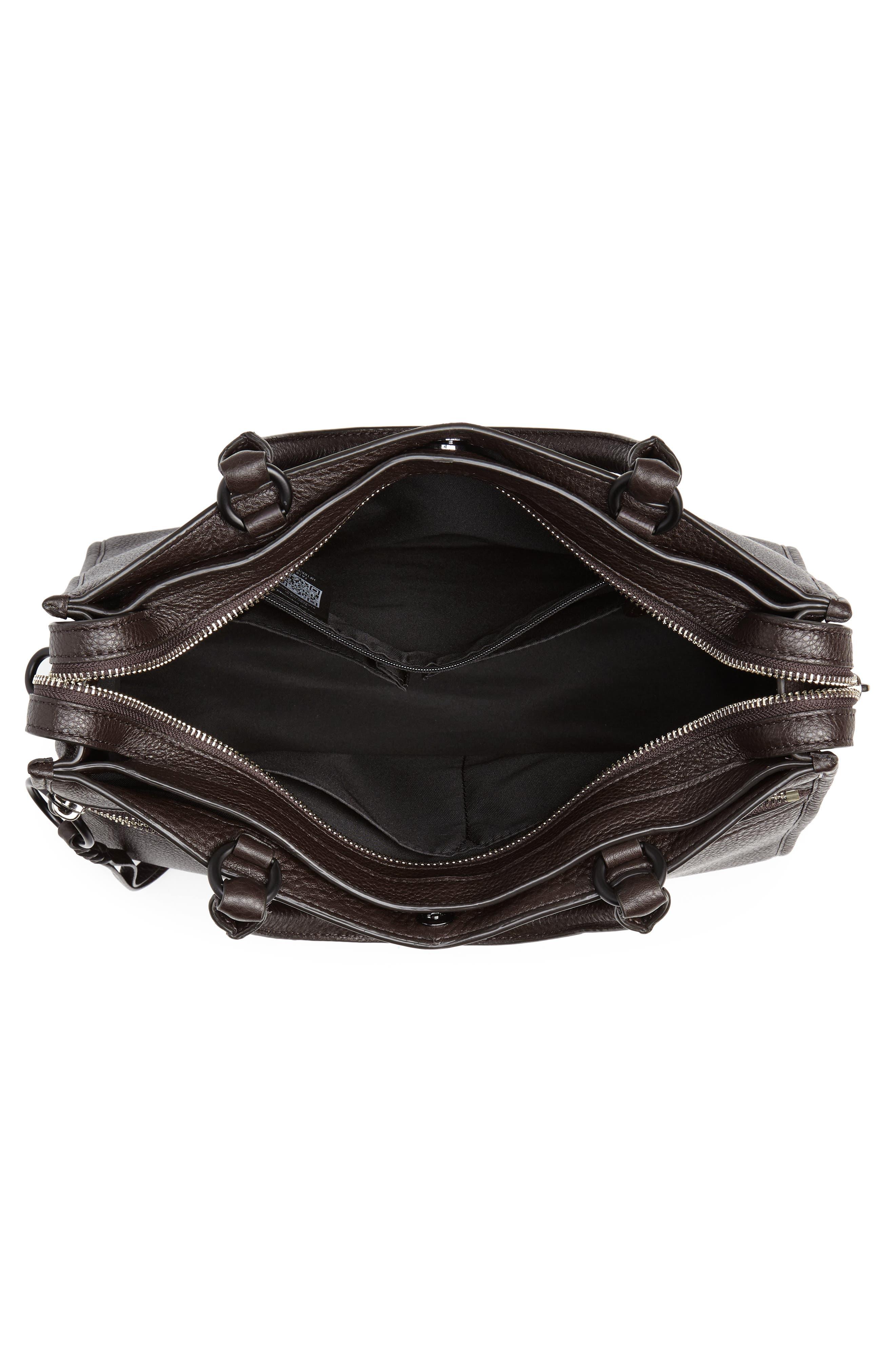 Bedford Zip Leather Satchel,                             Alternate thumbnail 4, color,                             GANACHE