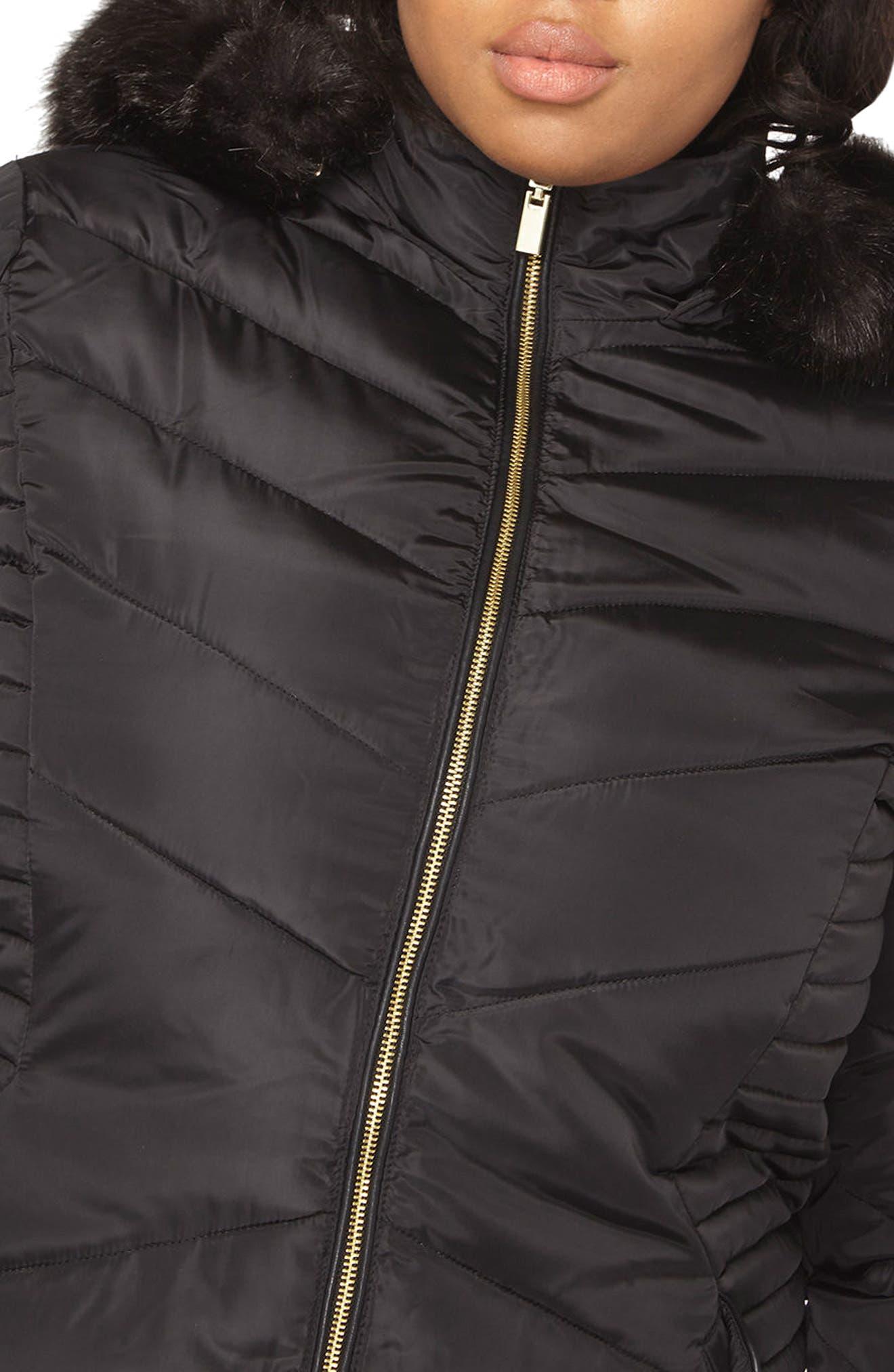 Faux Fur Trim Hooded Puffer Coat,                             Alternate thumbnail 4, color,                             001