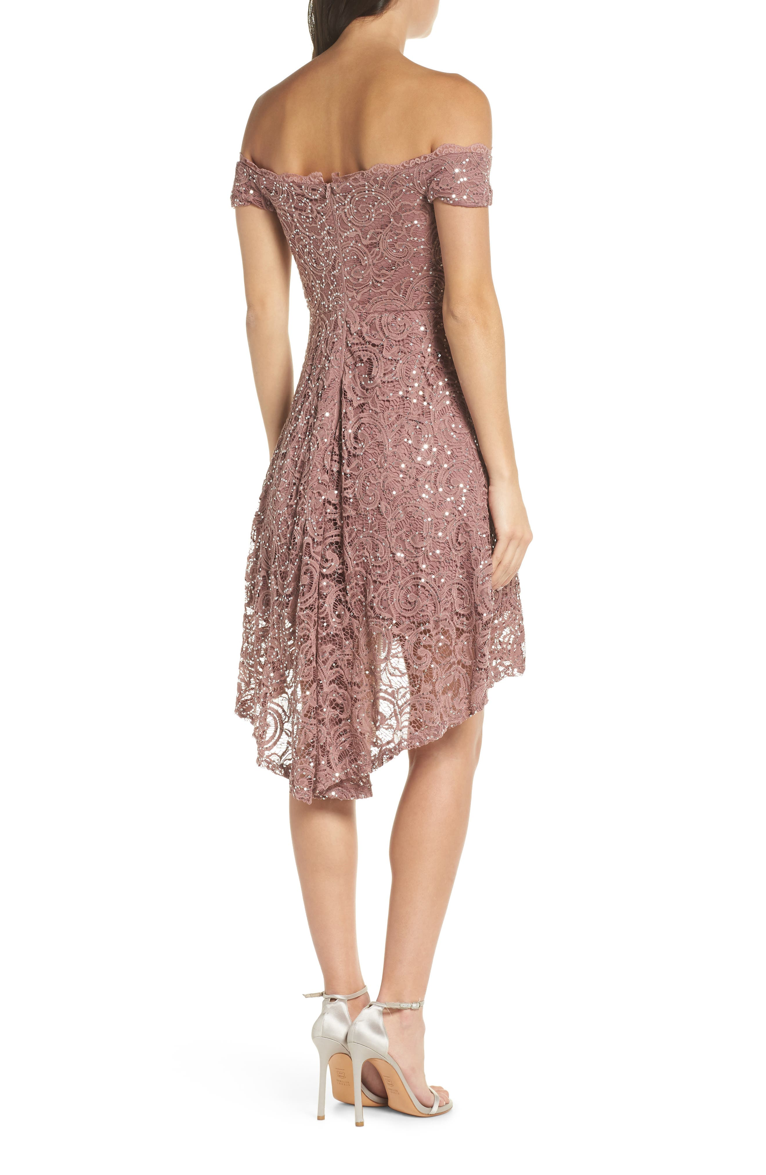 SEQUIN HEARTS,                             Off the Shoulder Sequin Lace Cocktail Dress,                             Alternate thumbnail 2, color,                             TAUPE/ SILVER