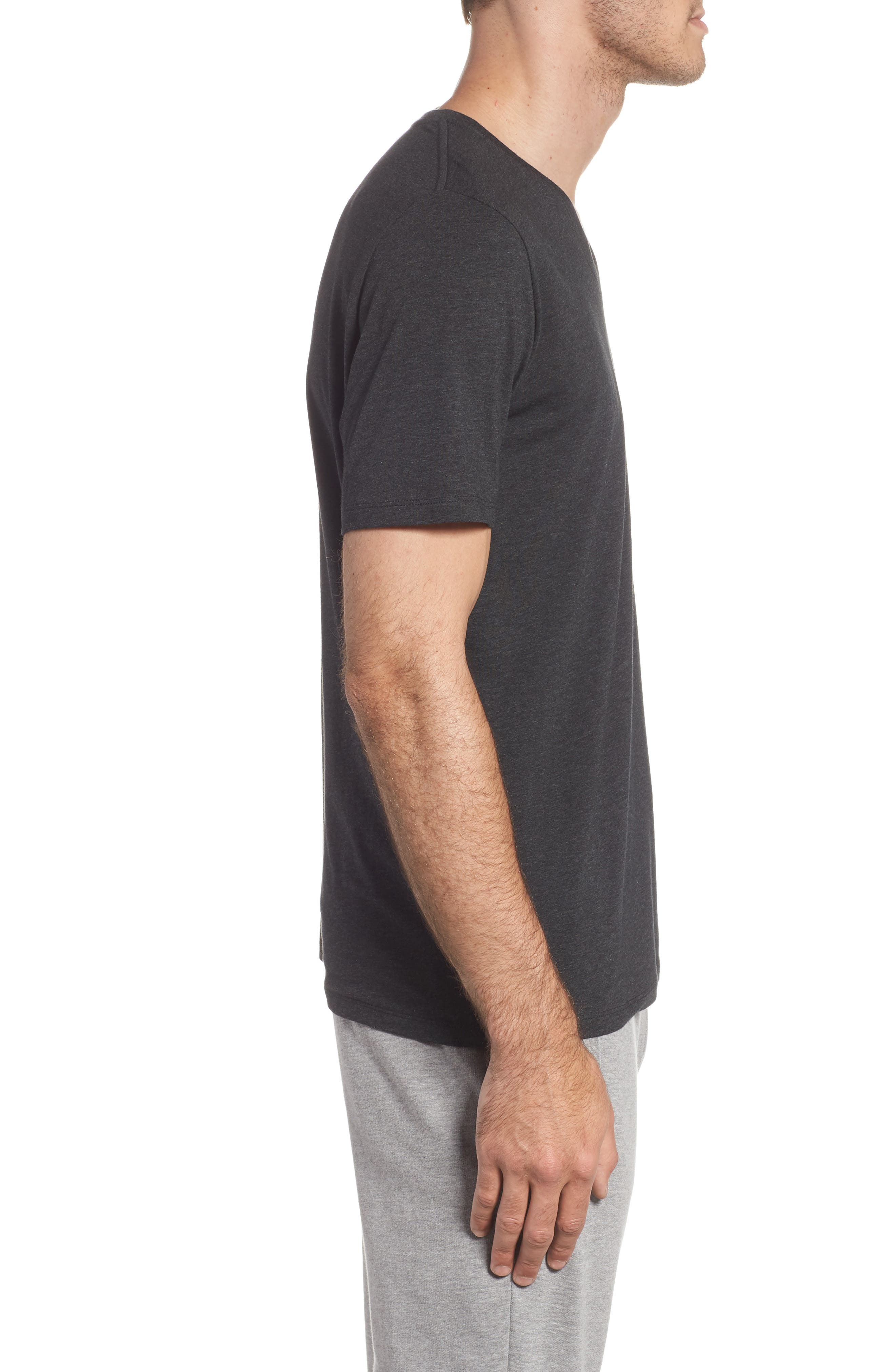 Cotton Blend V-Neck T-Shirt,                             Alternate thumbnail 3, color,                             HEATHER CHARCOAL