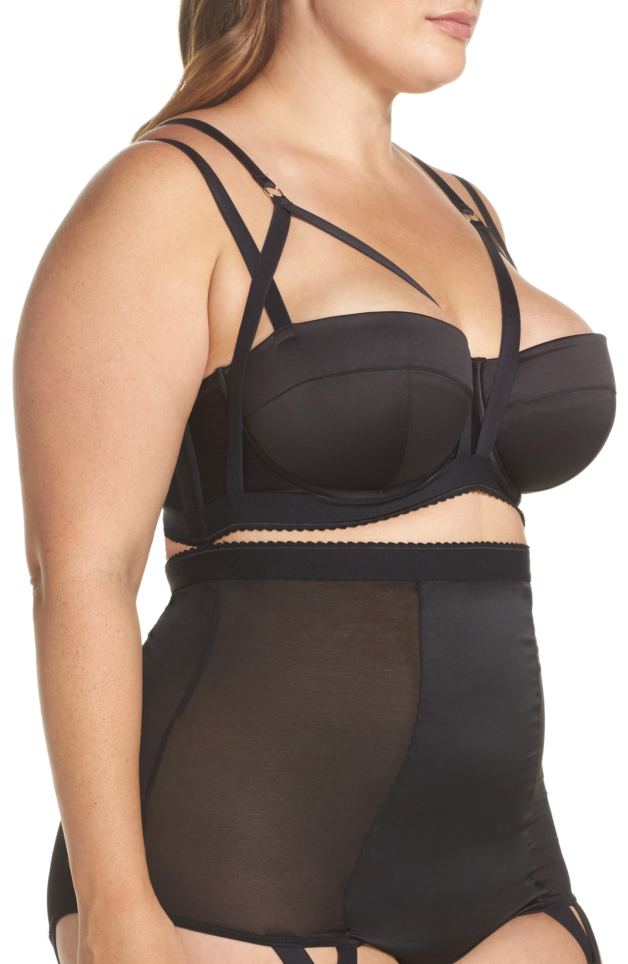 Playful Promies Candace Noir Strappy Underwire Bra,                             Alternate thumbnail 3, color,