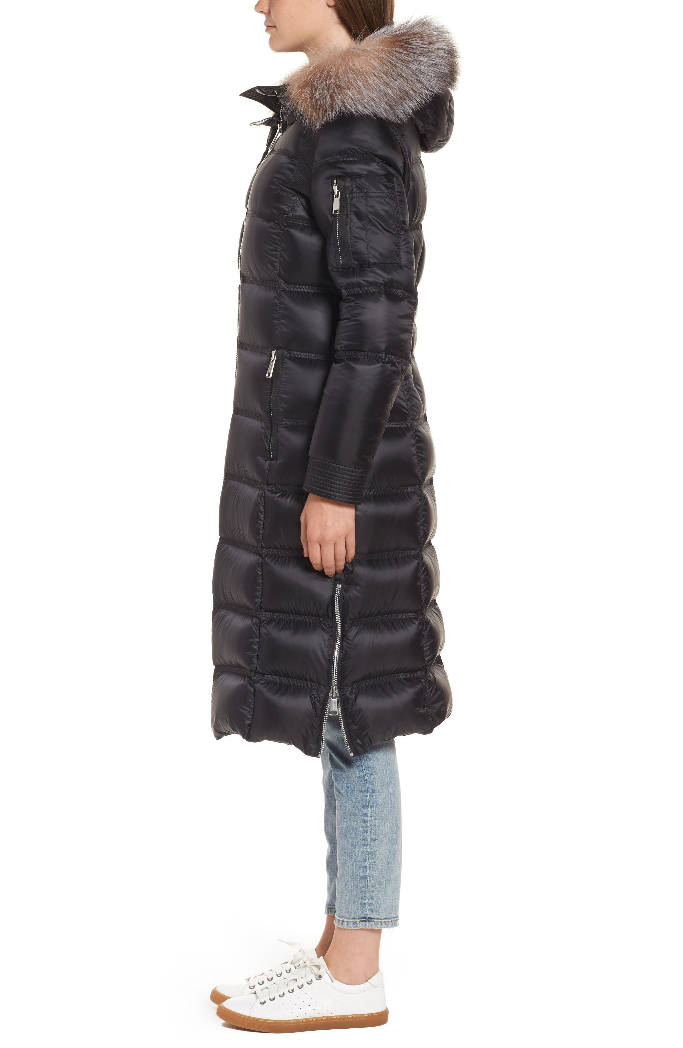 Charlize 42 Hooded Water Resistant Down Coat with Genuine Fox Fur Trim,                             Alternate thumbnail 3, color,                             001