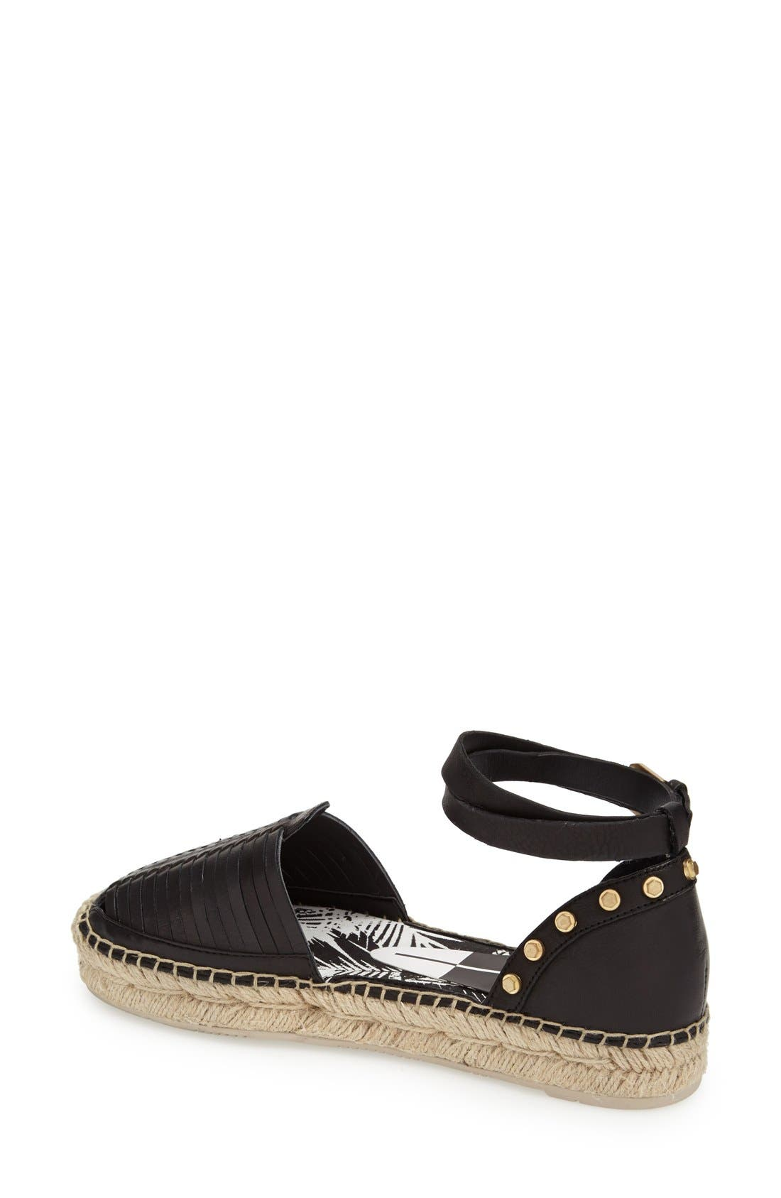 'Ceyla' Leather Ankle Strap Espadrille,                             Alternate thumbnail 4, color,                             001