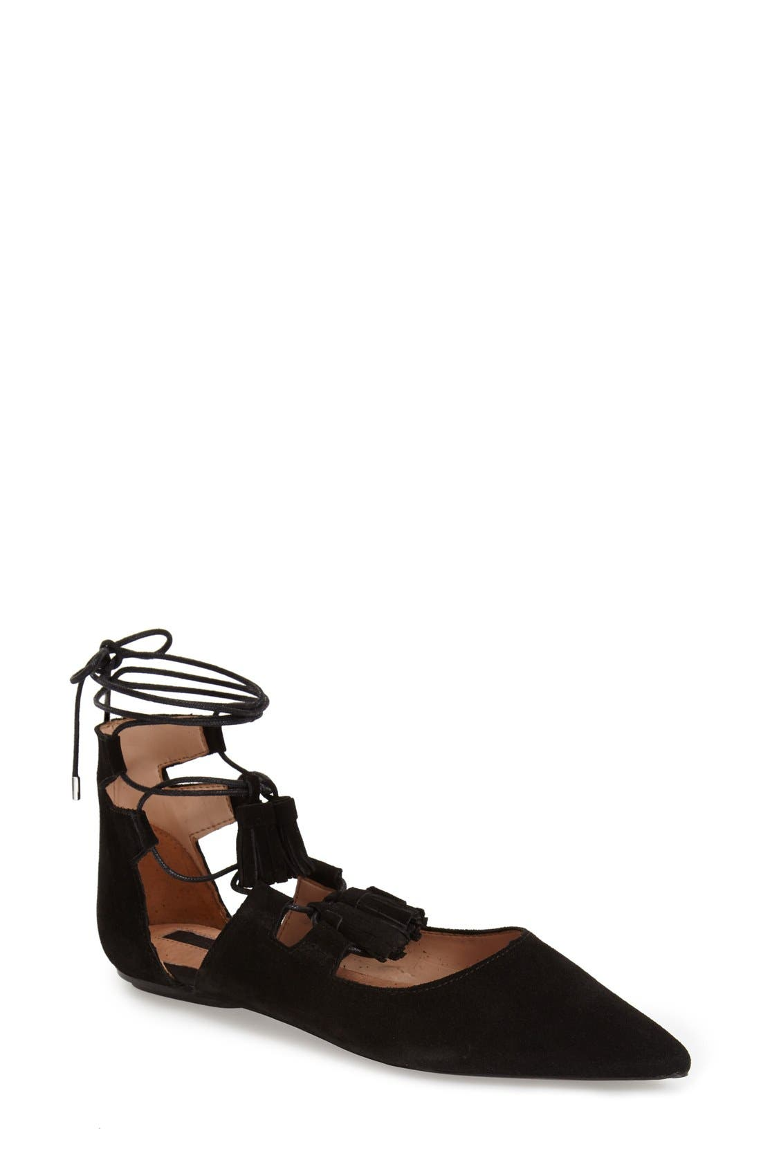 'Leather Kiss' Pointy Toe GhillieFlat,                         Main,                         color, 001