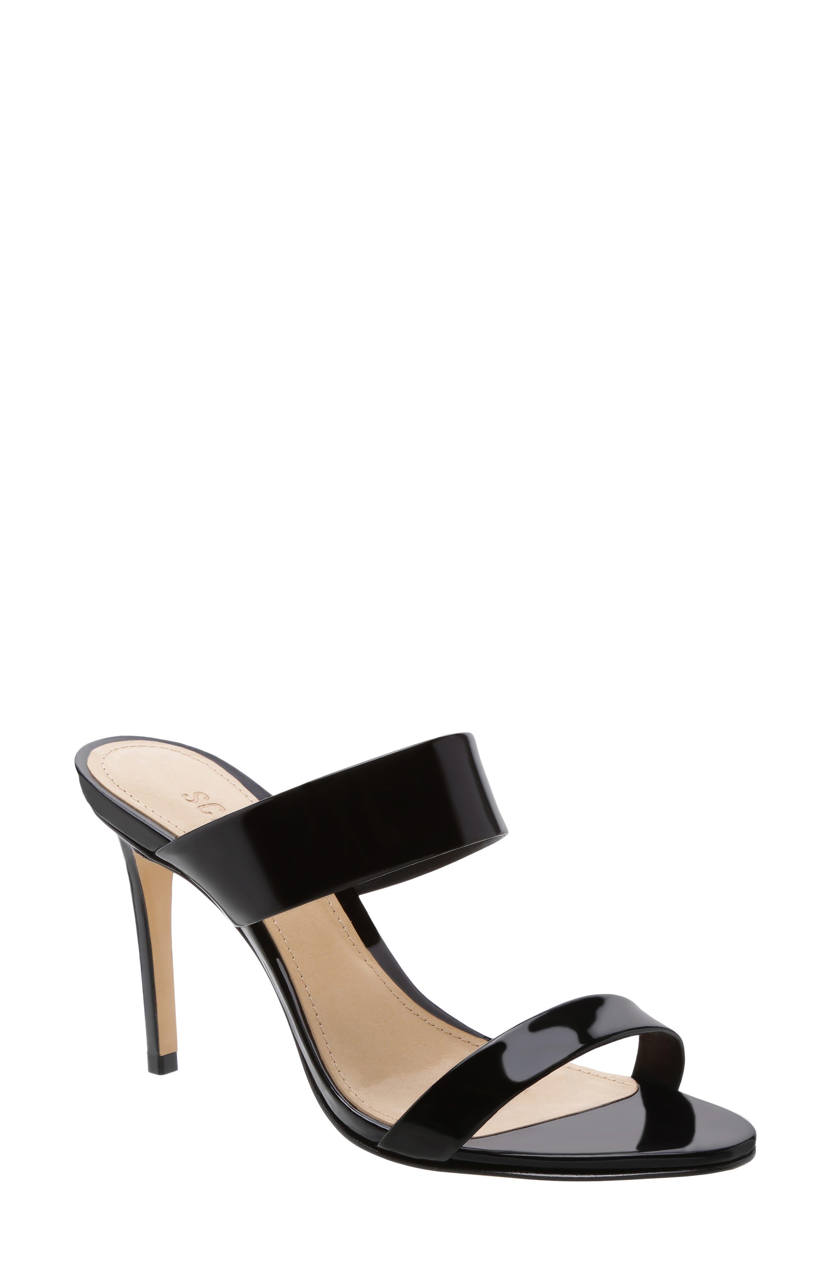 Stiletto Slide Sandal, Main, color, BLACK PATENT LEATHER