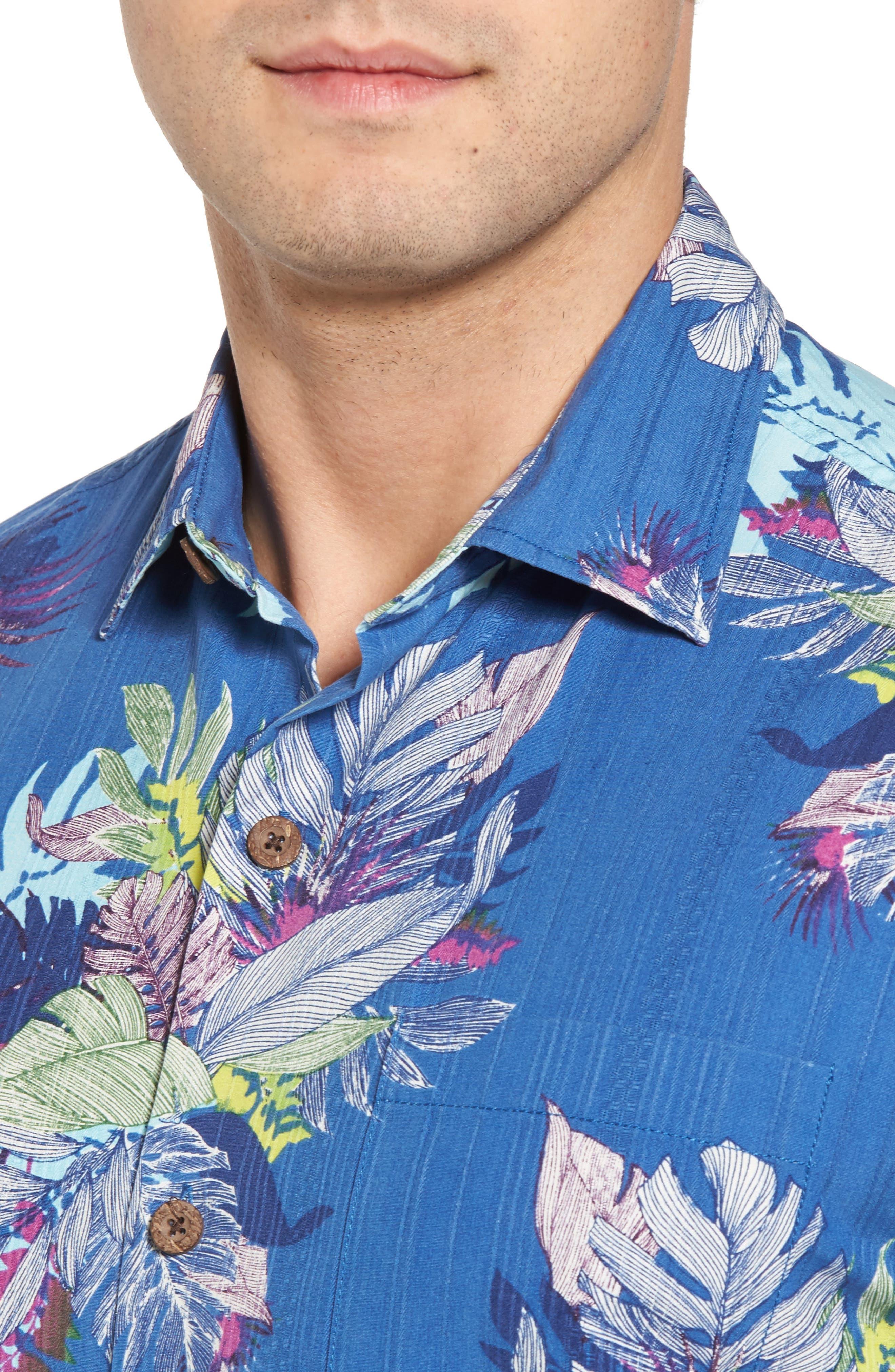 Fronds Bouquet Classic Fit Silk Blend Sport Shirt,                             Alternate thumbnail 4, color,                             400