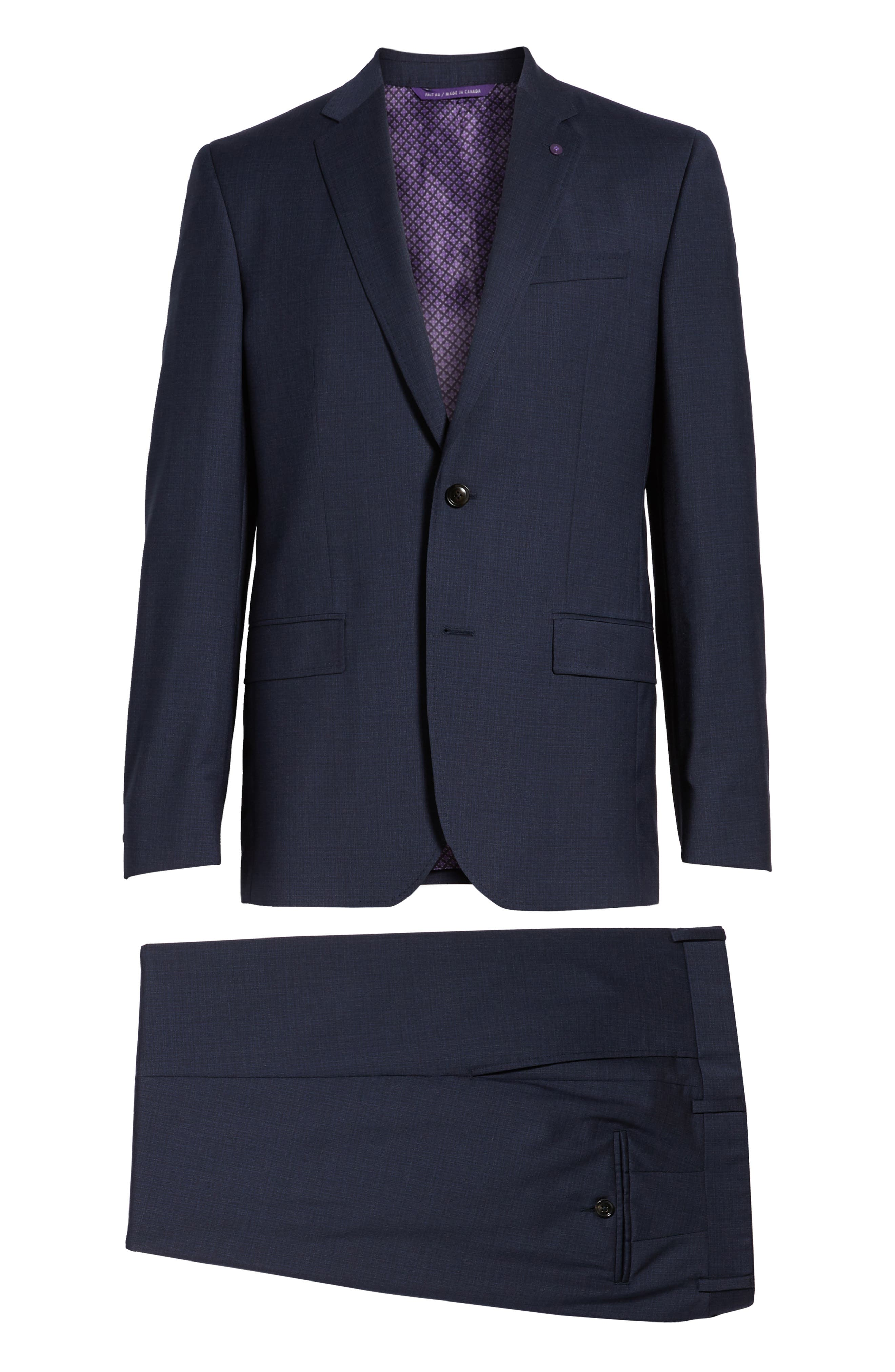 Jay Trim Fit Solid Wool Suit,                             Alternate thumbnail 8, color,                             BLUE