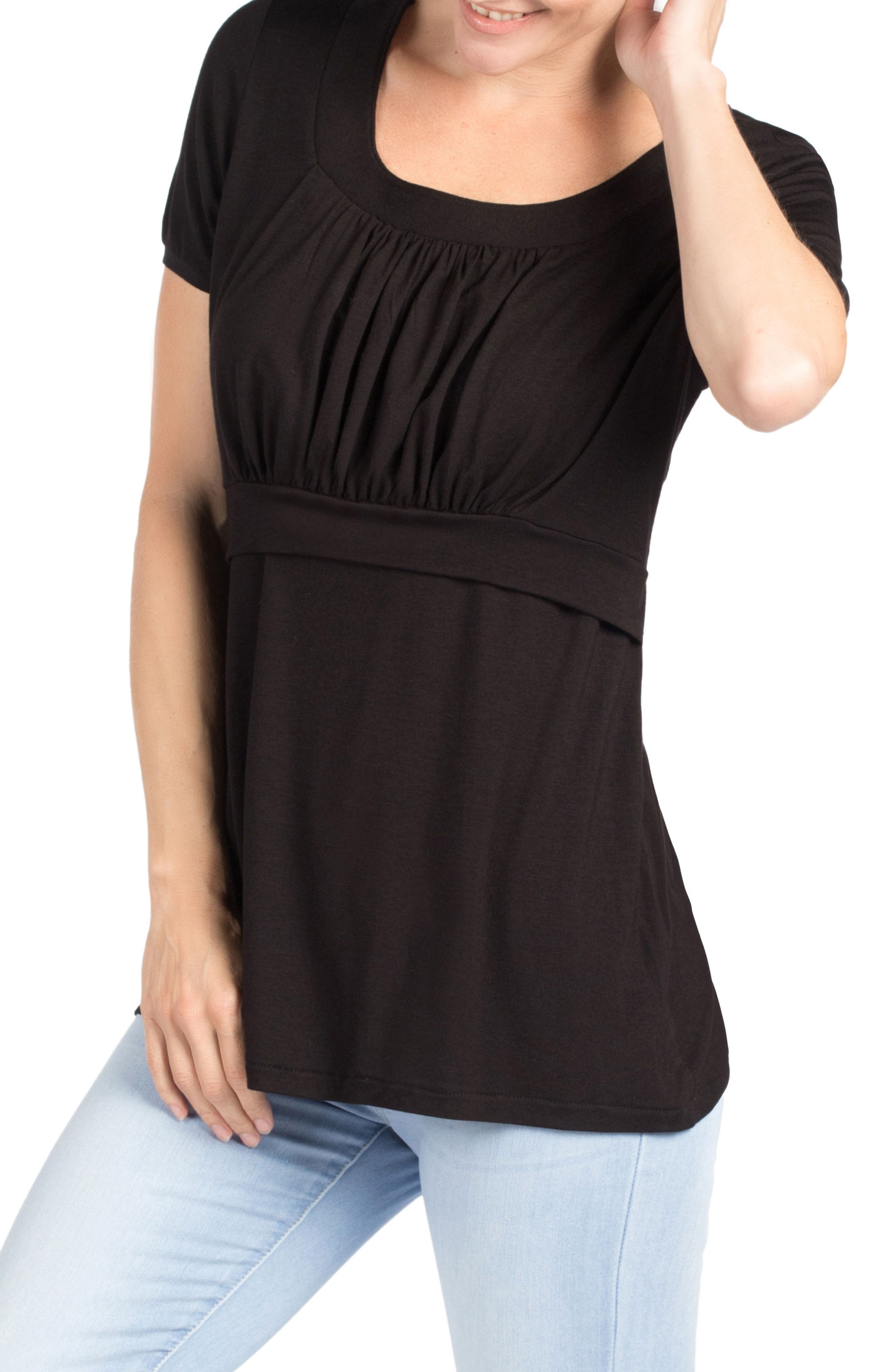Westin Maternity/Nursing Top,                             Alternate thumbnail 3, color,                             BLACK