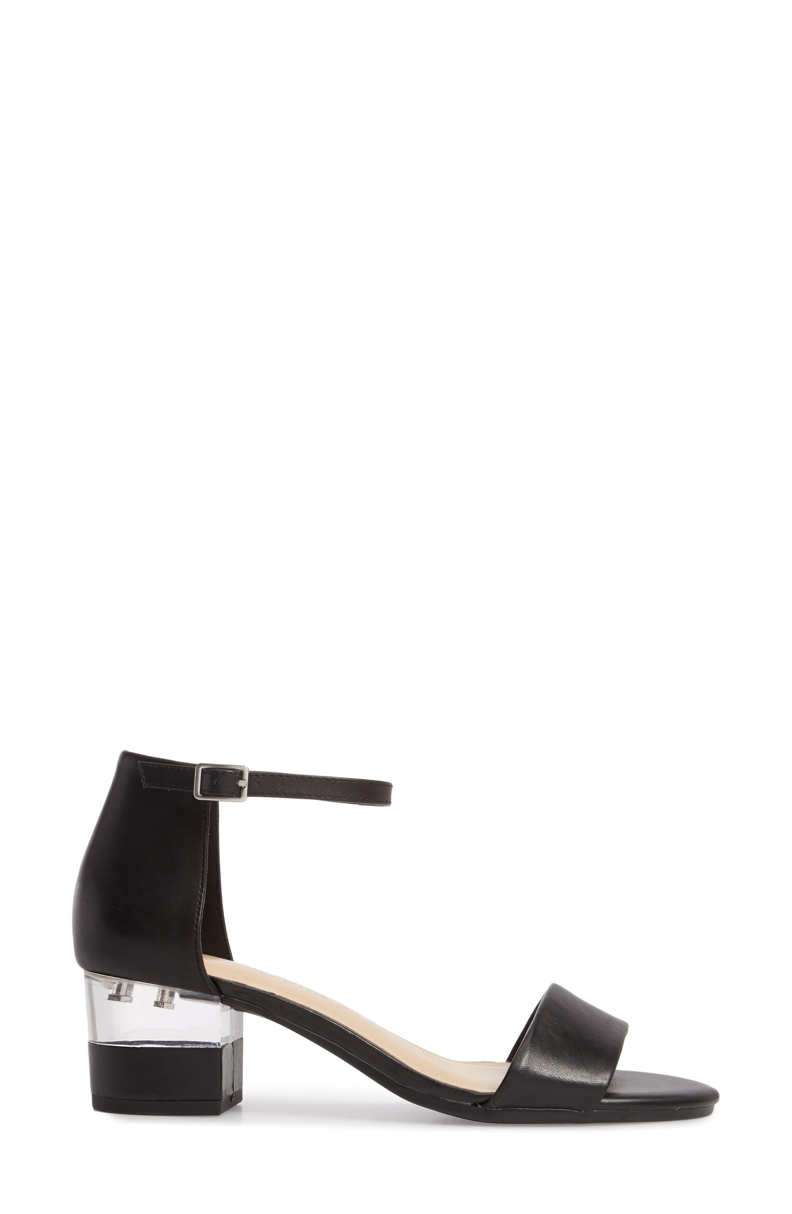 Fitz Block Heel Sandal,                             Alternate thumbnail 3, color,                             BLACK LEATHER