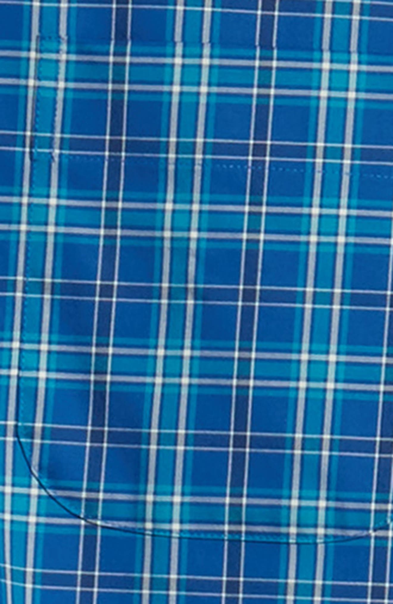 Crown Ease Salamanca Regular Fit Plaid Sport Shirt,                             Alternate thumbnail 6, color,                             BLUE