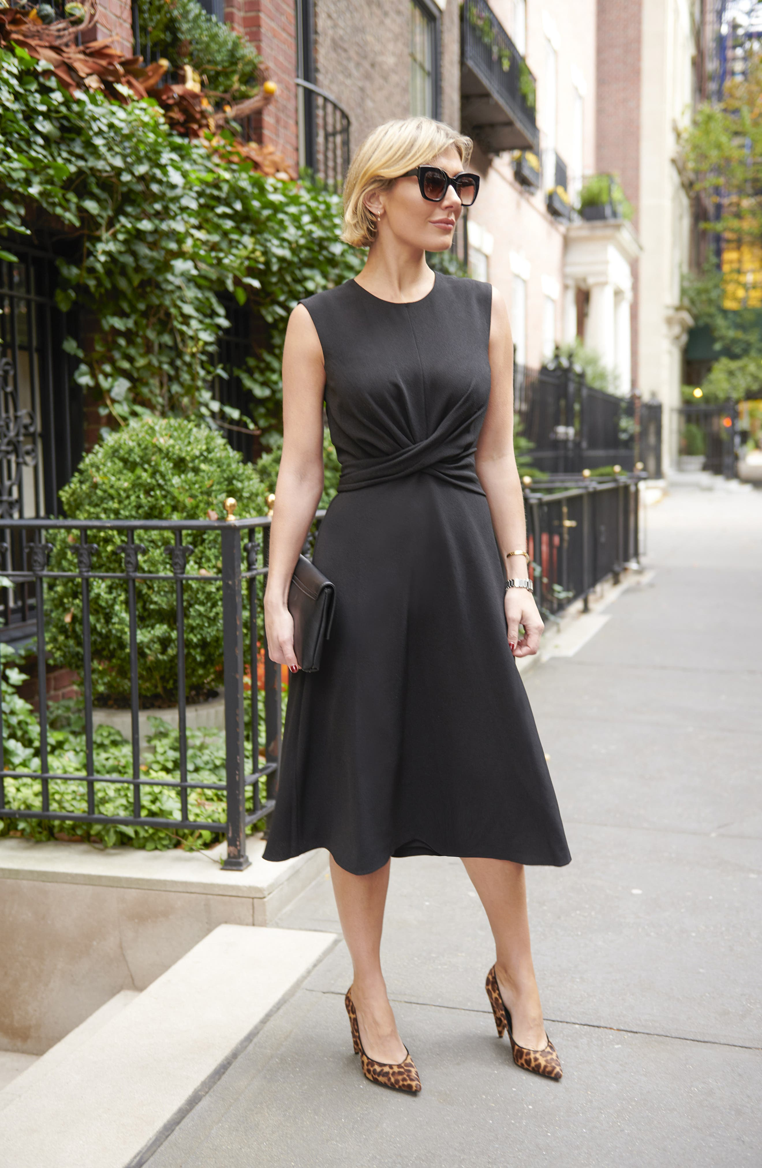 Sleeveless Cross Front Midi Dress,                             Alternate thumbnail 8, color,                             BLACK