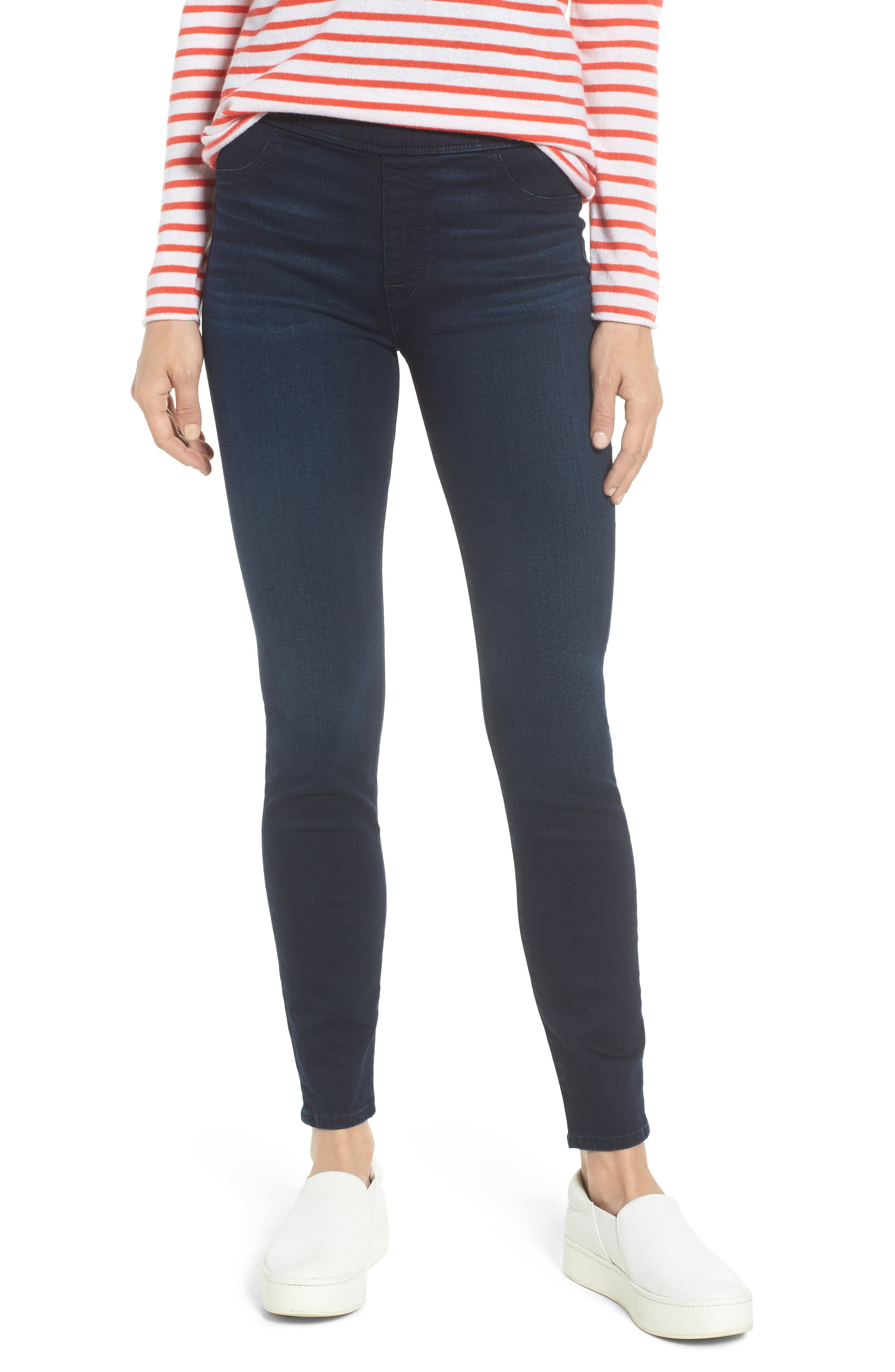Comfort Skinny Denim Leggings,                             Main thumbnail 1, color,                             RICHE TOUCH BLUE/BLACK