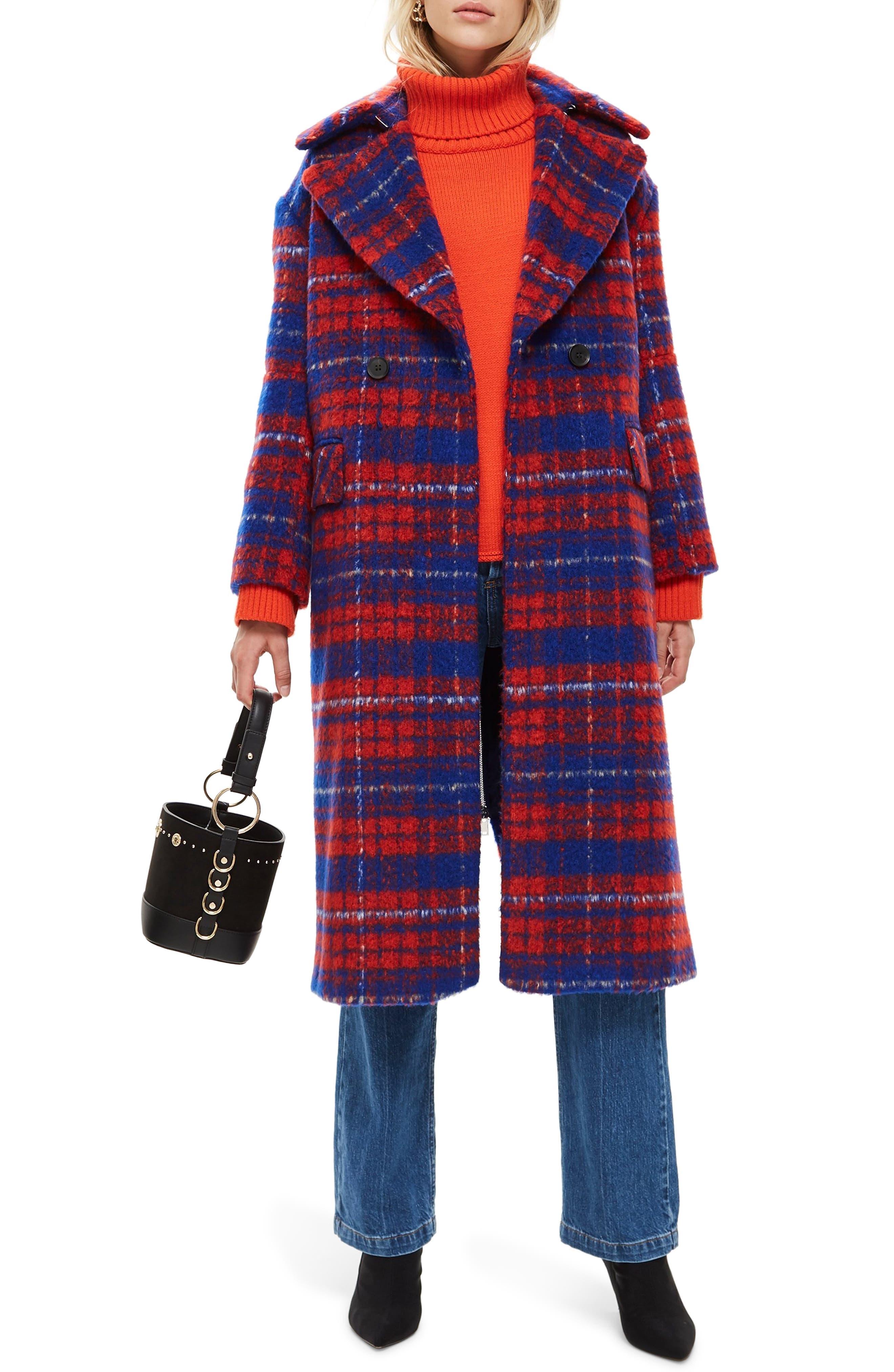 Bodika Check Coat,                             Main thumbnail 1, color,                             RED MULTI