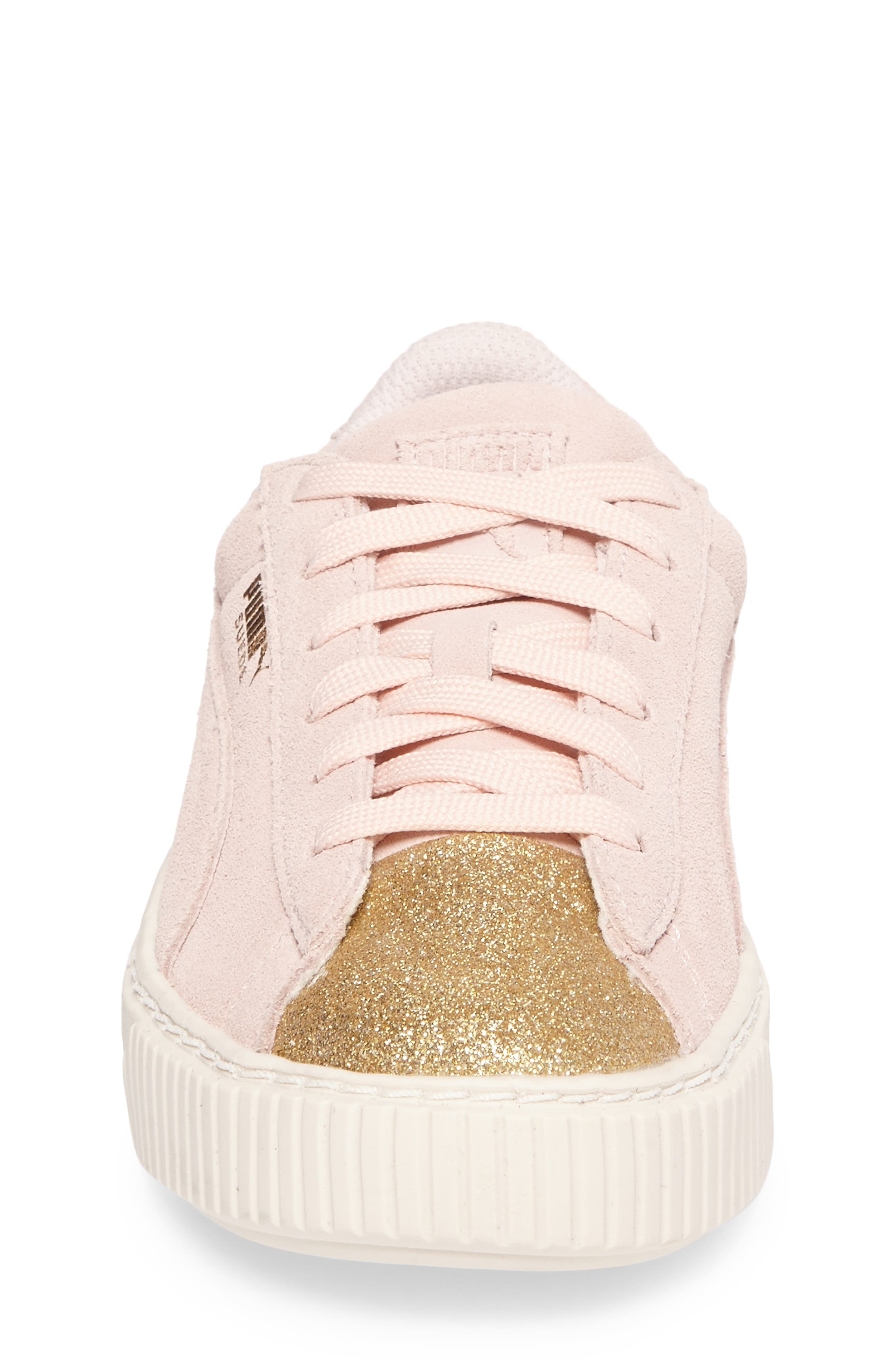 Suede Platform Glam Sneaker,                             Alternate thumbnail 4, color,                             650