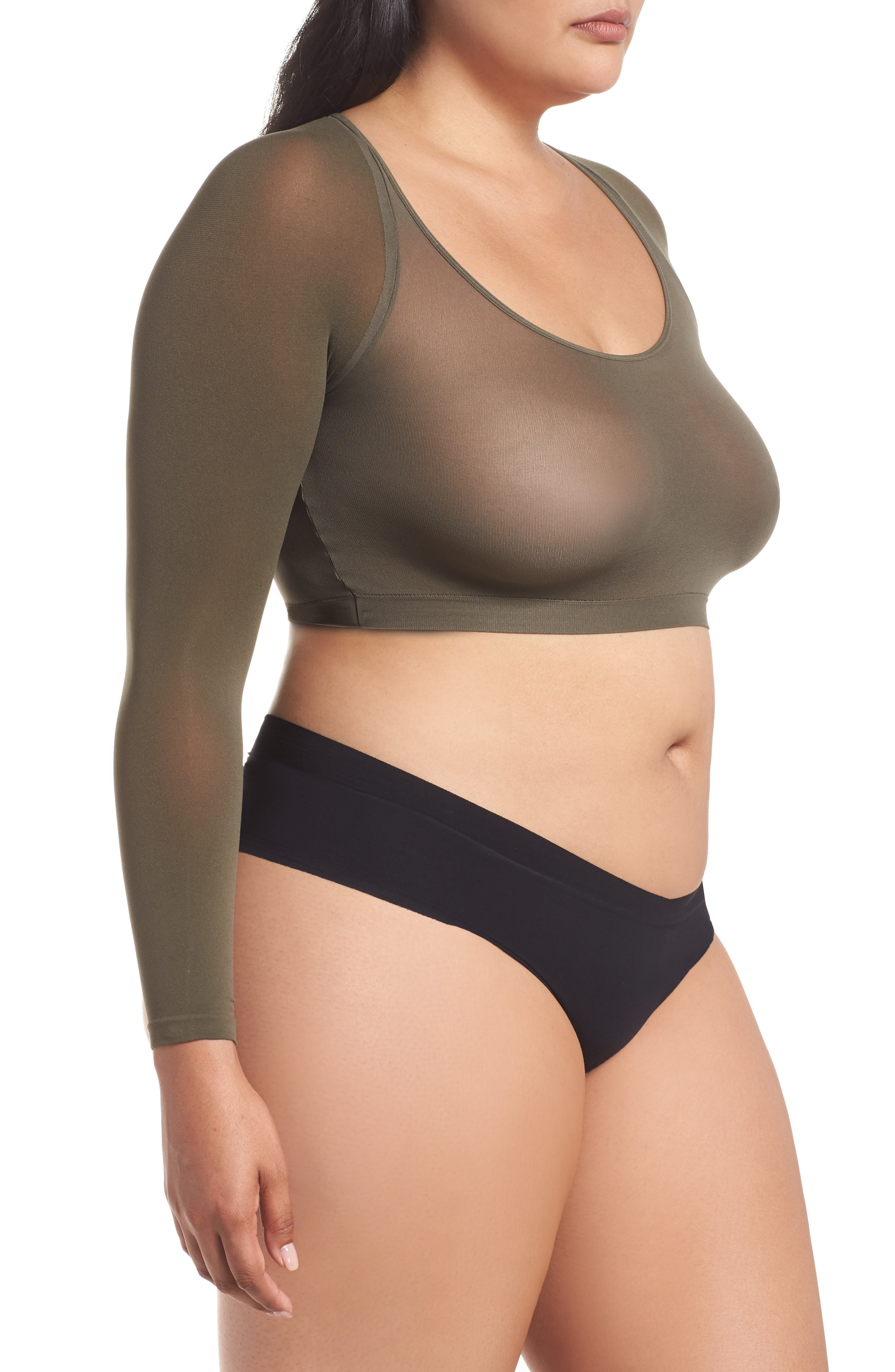 Arm Tights<sup>™</sup> Crop Top,                             Alternate thumbnail 3, color,                             DARK OLIVE